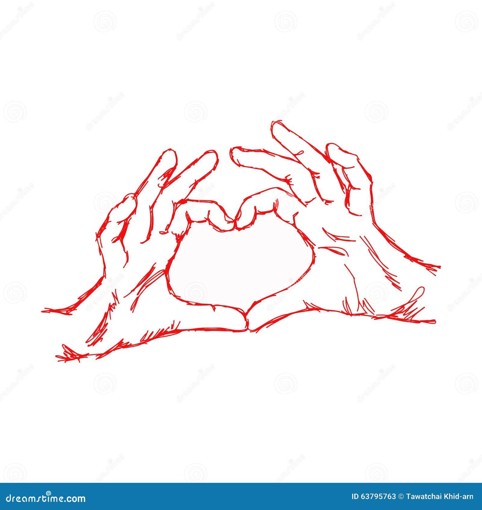 形成心脏形状,与红色笔的例证传染媒介手拉的乱画手.图片