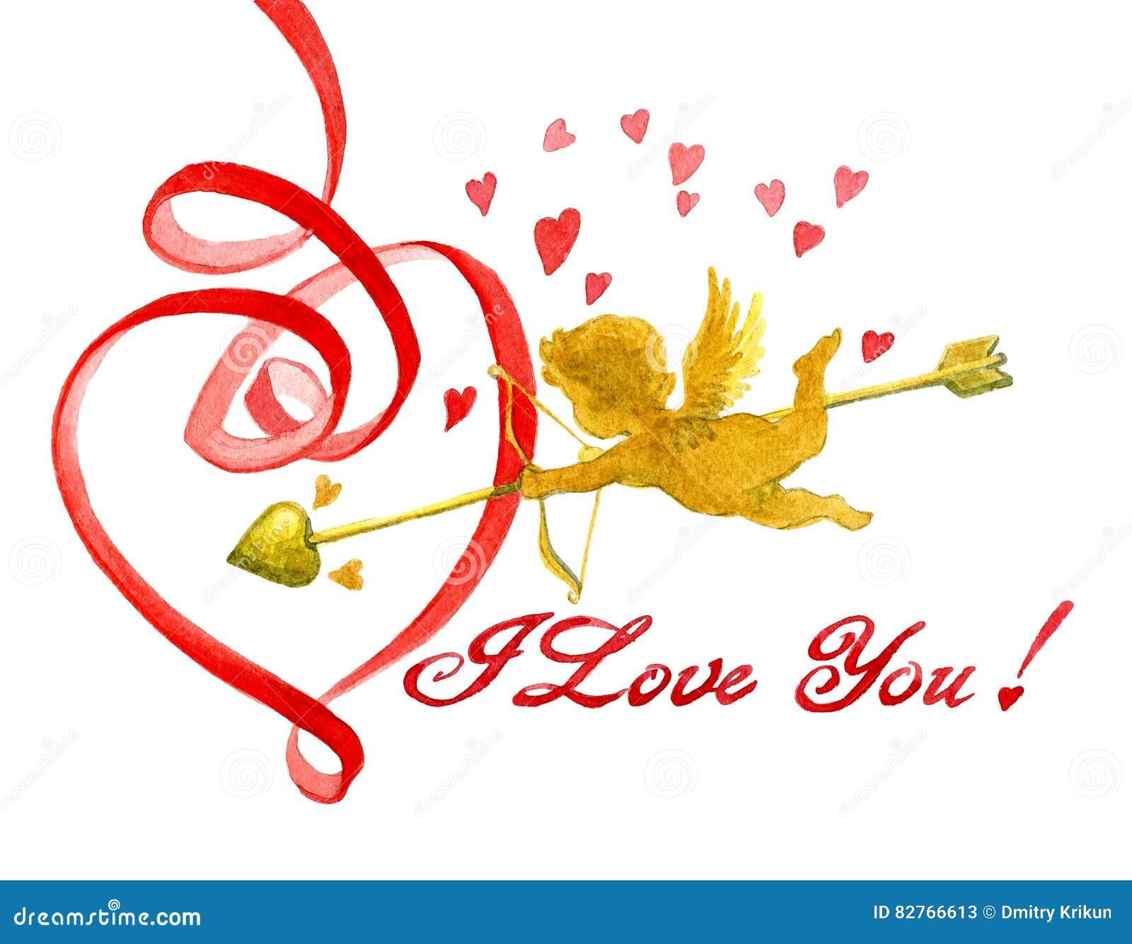 水彩与被隔绝的桃红色题字和天使卡片的Valentine's天