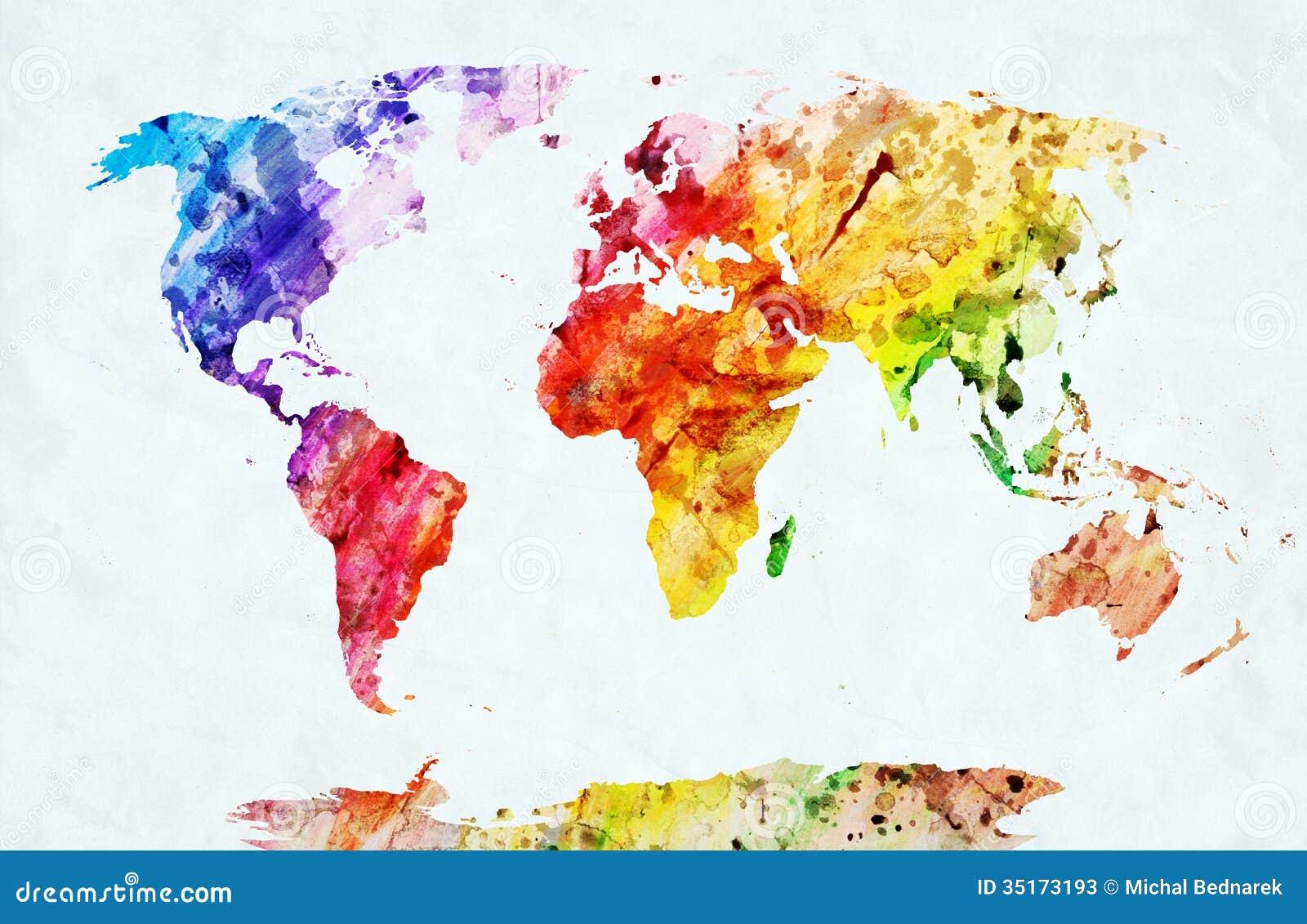 水彩世界地图