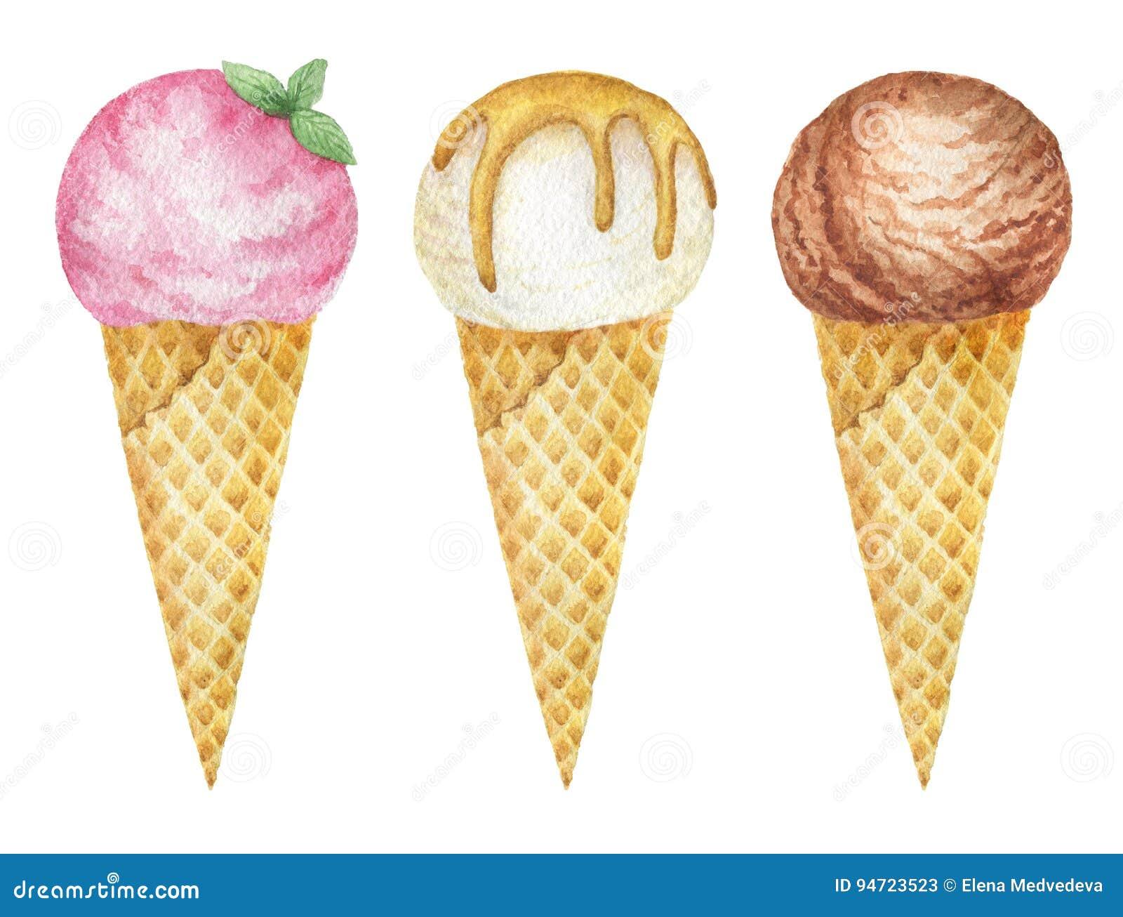 水彩冰淇凌用巧克力、香草和果子