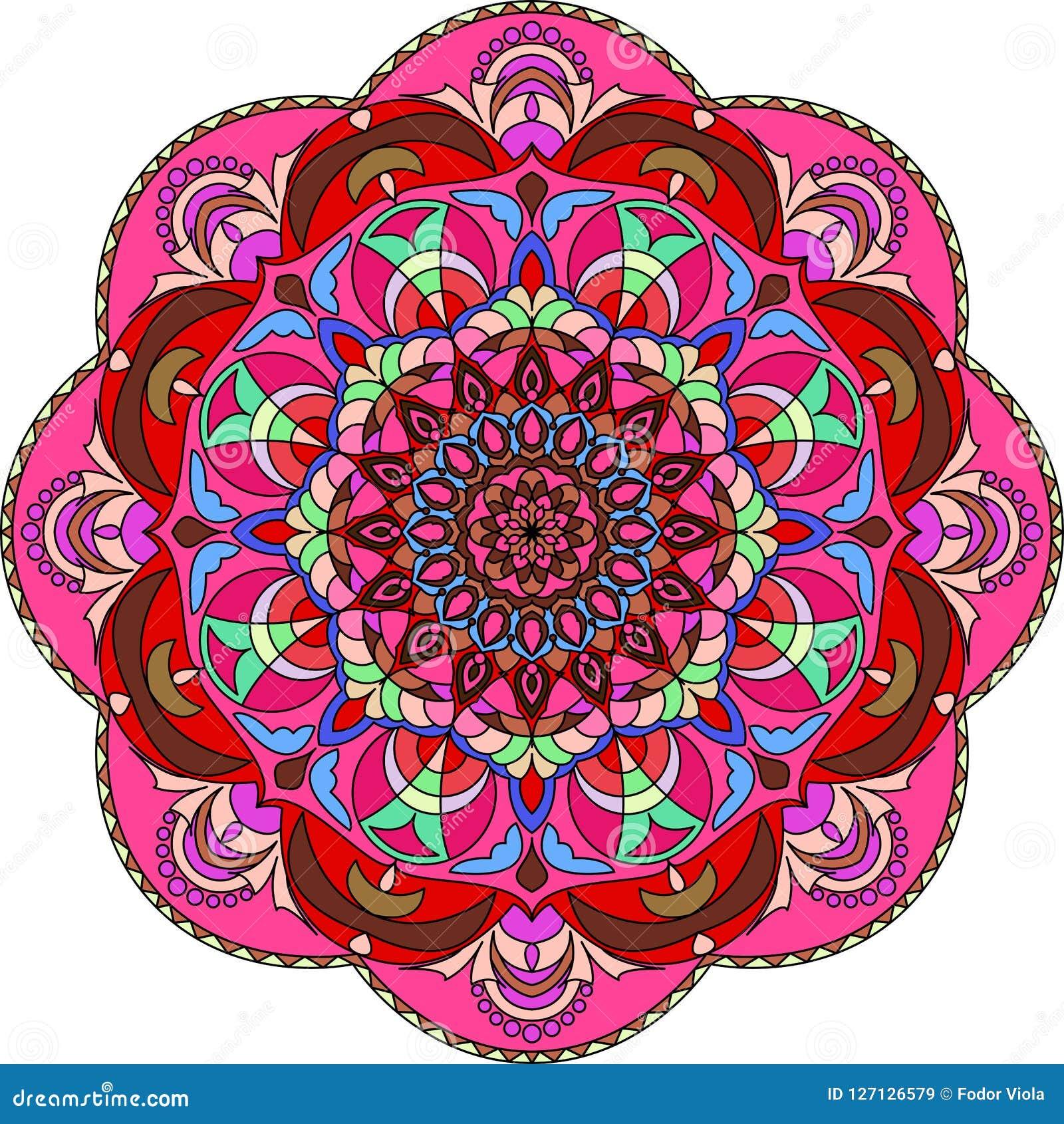 彩图的五颜六色的坛场 装饰圆的装饰品