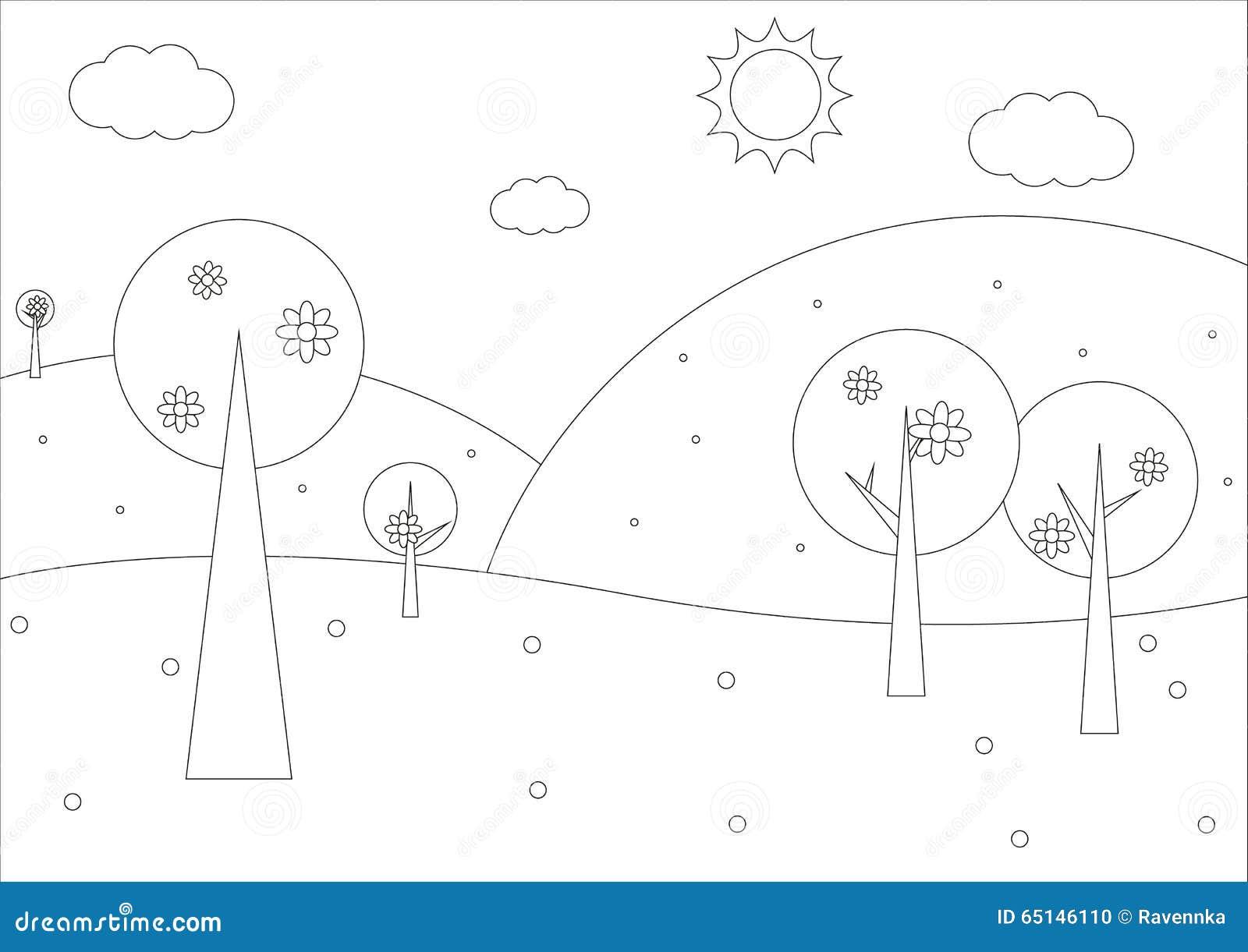 简单风景画_彩图-简单的春天几何风景