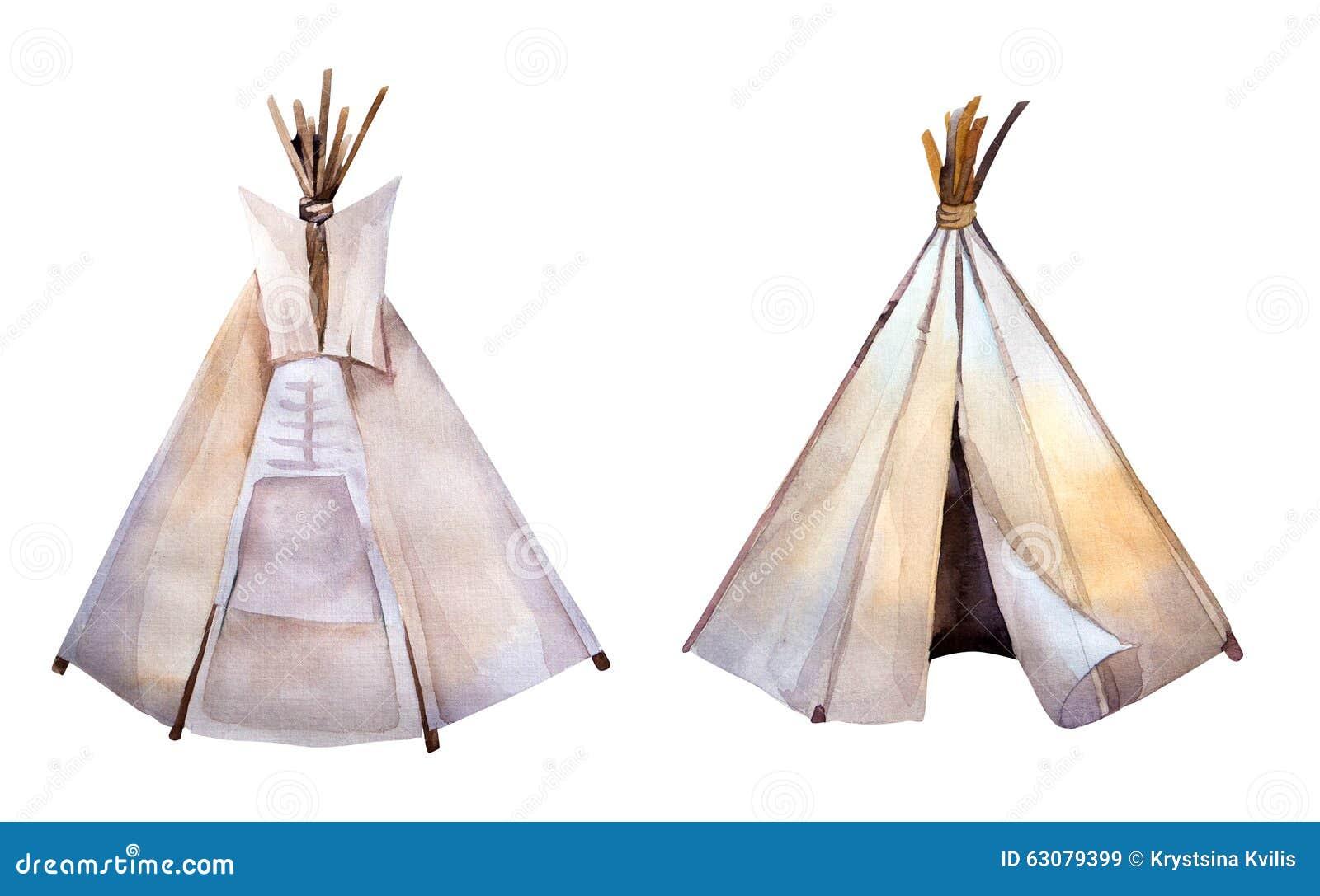 水彩圆锥形帐蓬 Boho syle图象 种族美国
