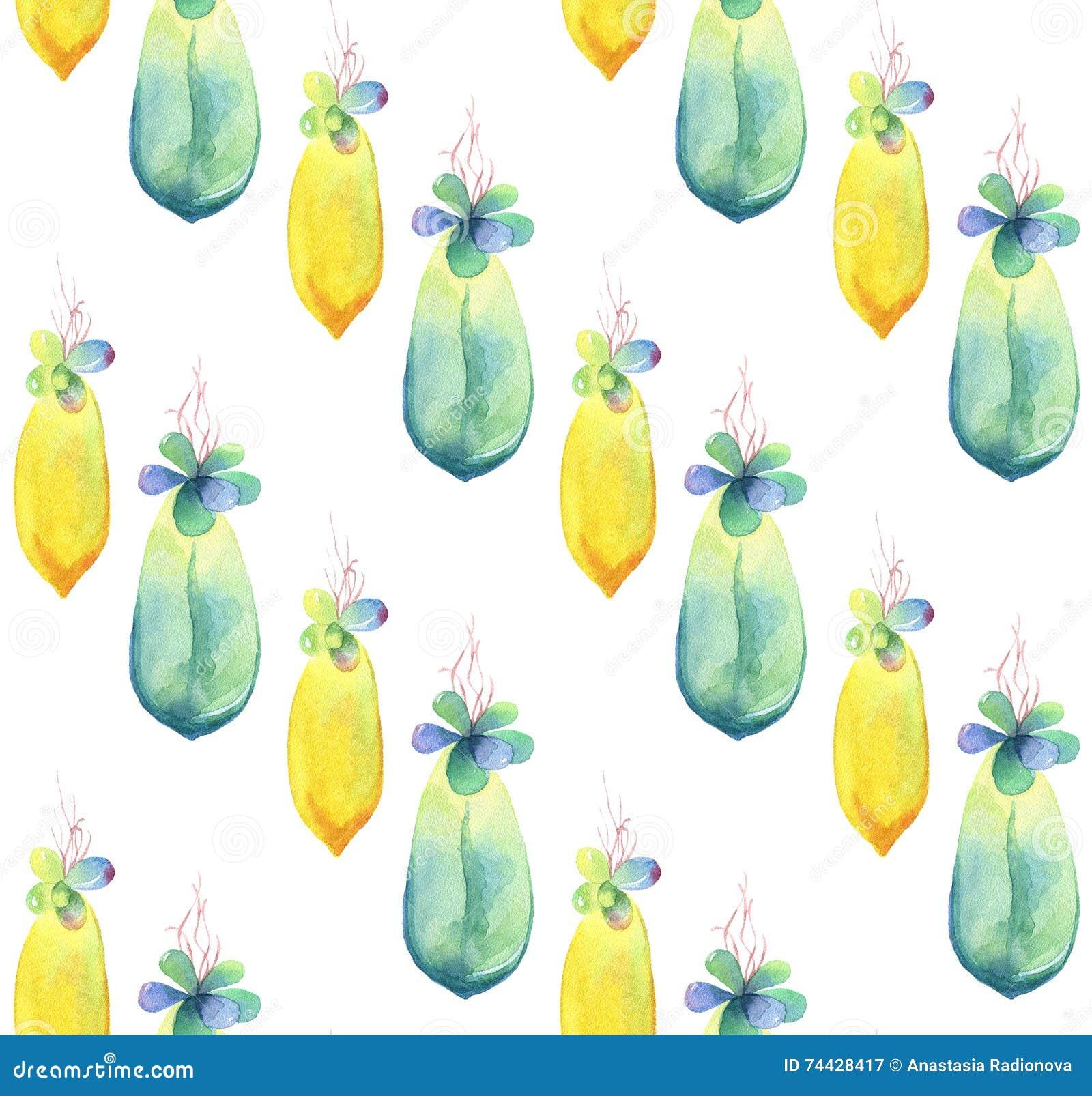 水彩多汁植物婴孩的无缝的样式 拉长的现有量