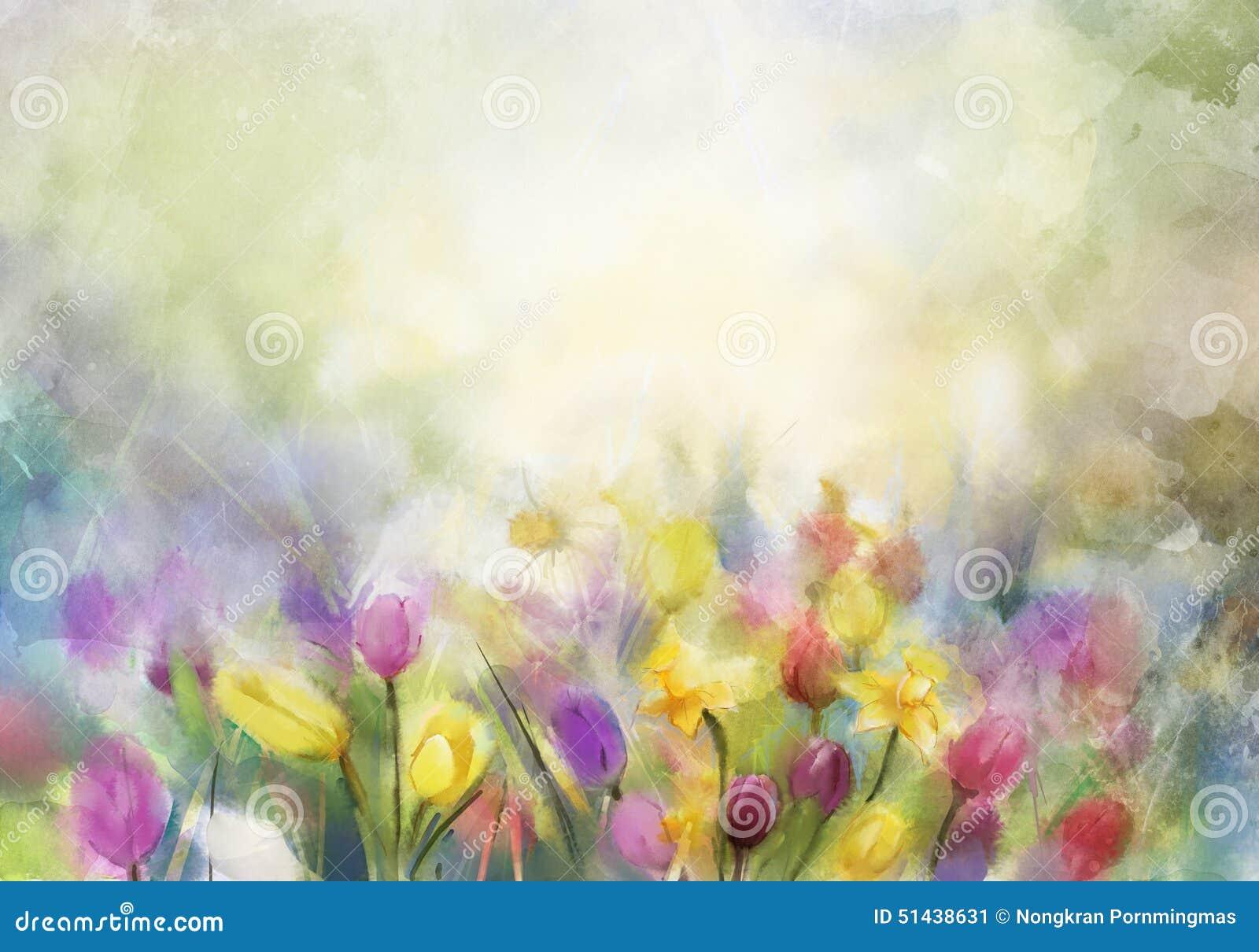 水彩开花绘画