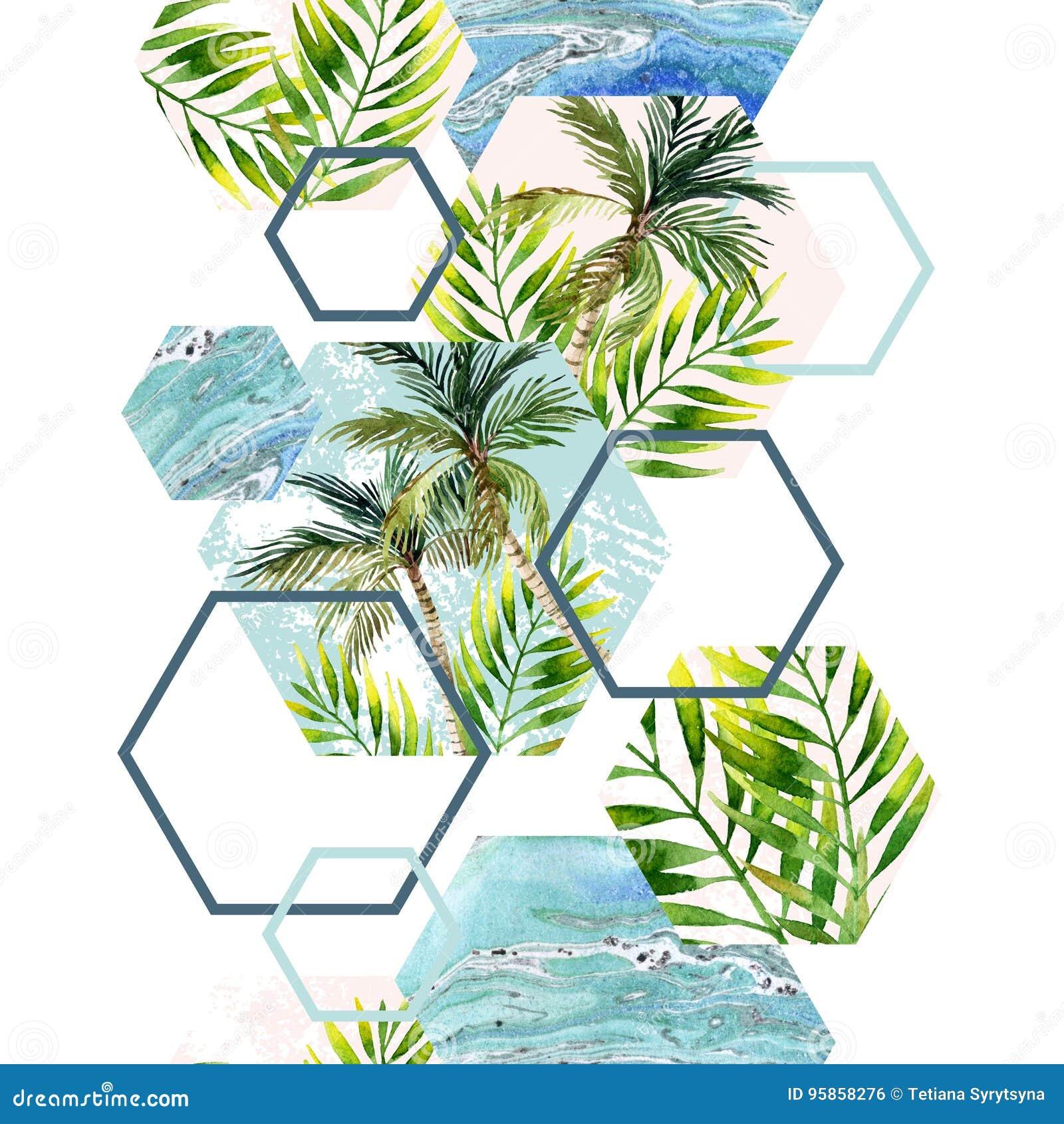 水彩热带叶子和棕榈树在几何形状无缝的样式