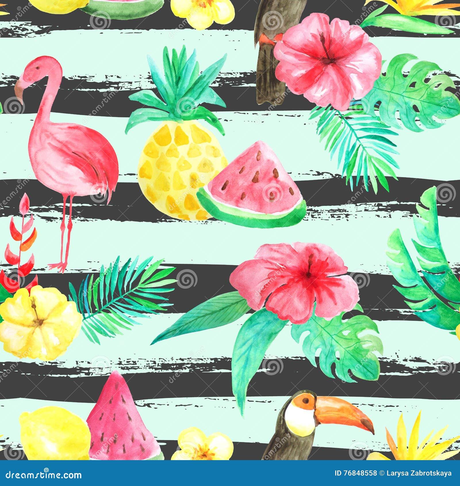 水彩热带花卉无缝的样式