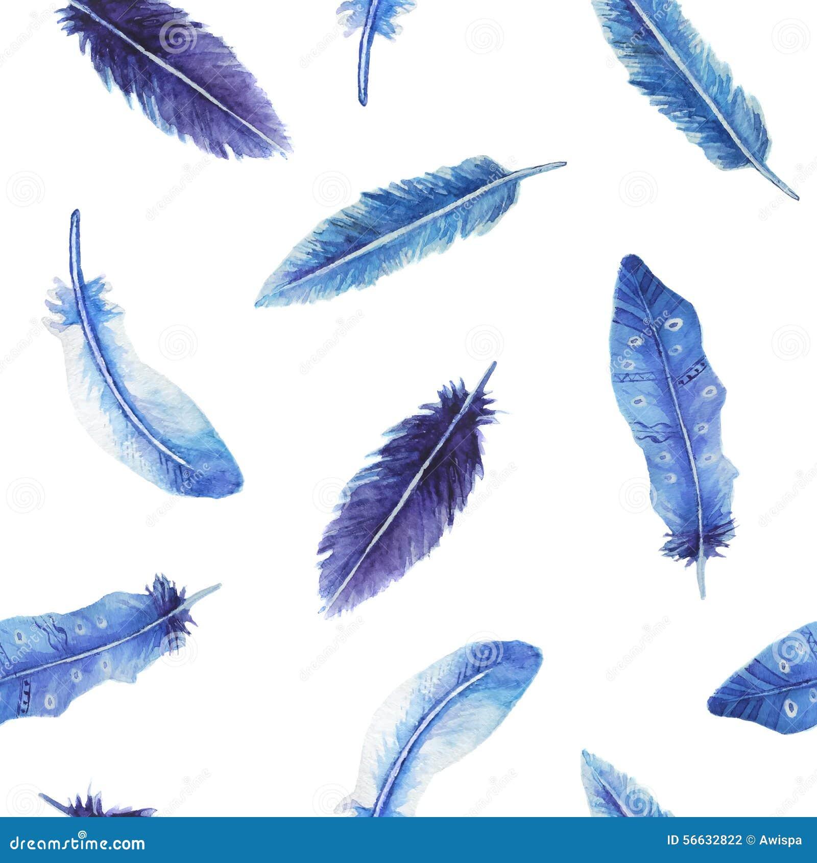 水彩羽毛无缝的样式