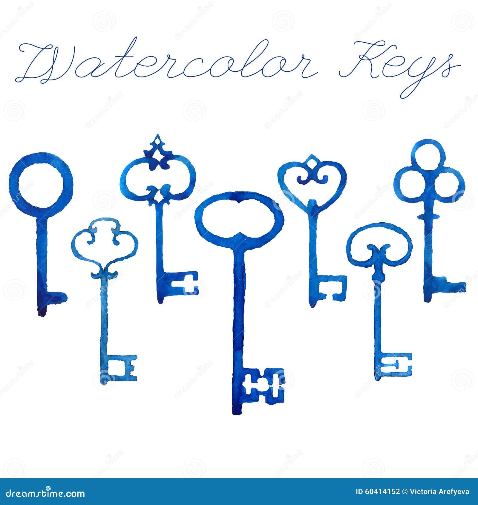 水彩葡萄酒钥匙