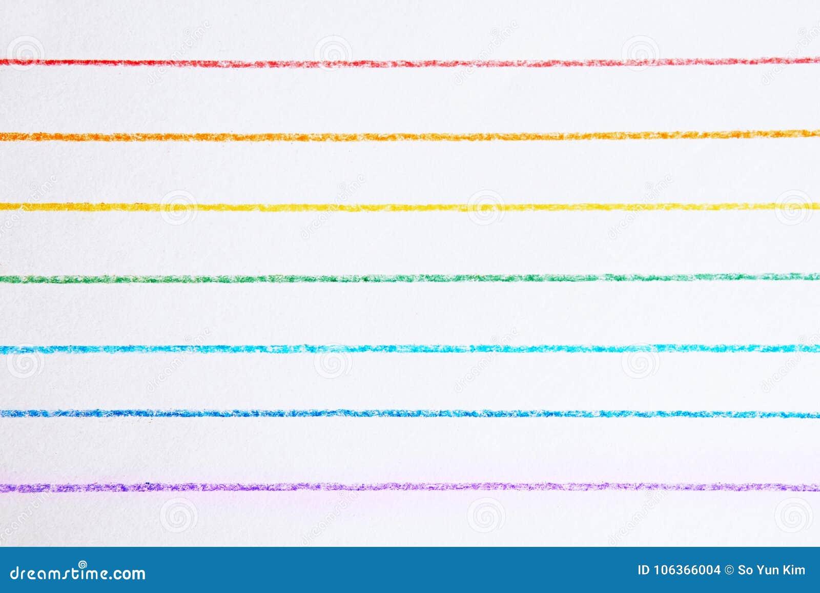 彩虹上色了水平线画与色的铅笔