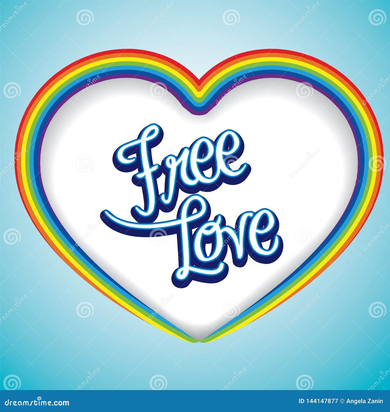 彩虹与自由性爱消息的心脏框架