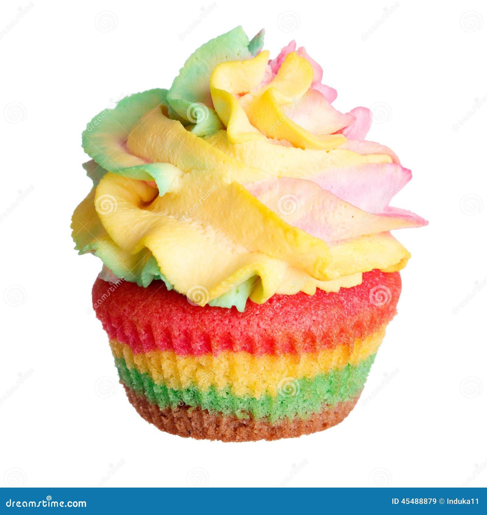 彩虹在白色隔绝的色的松饼
