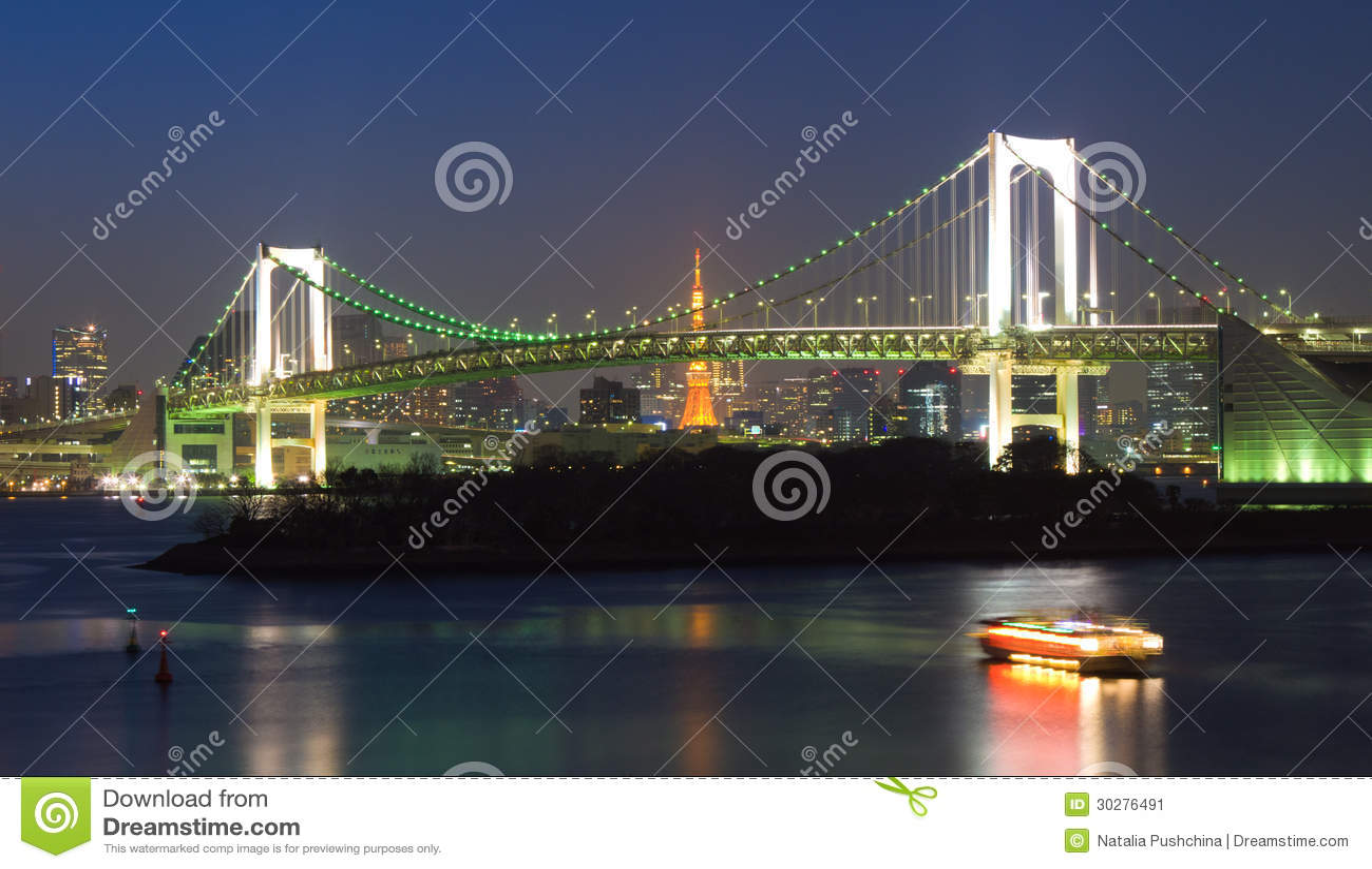 彩虹桥梁在晚上,东京,日本