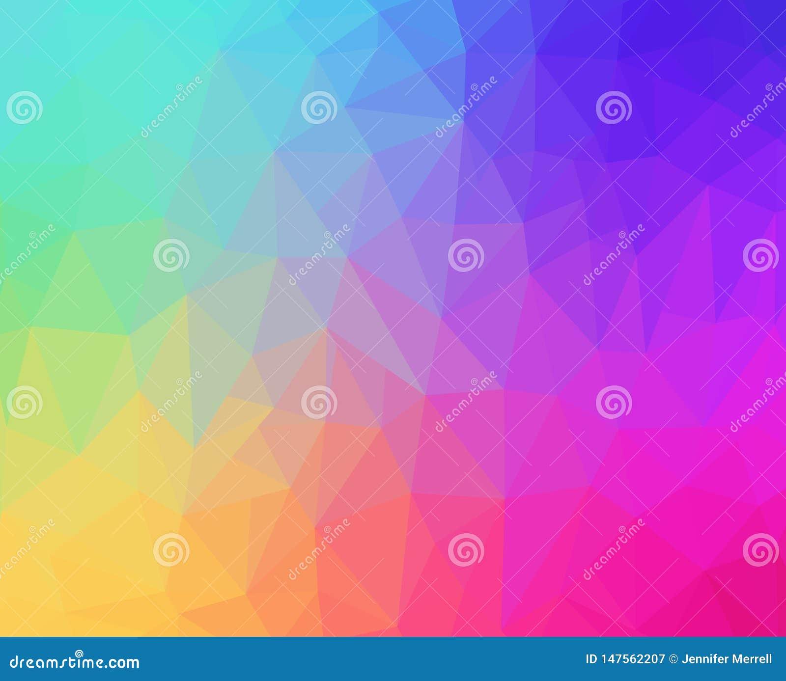 彩虹淡色多角形背景