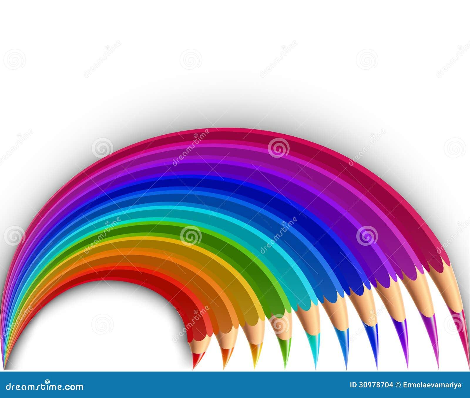色�_在白色背景隔绝的多彩多姿的铅笔.传染媒介例证.