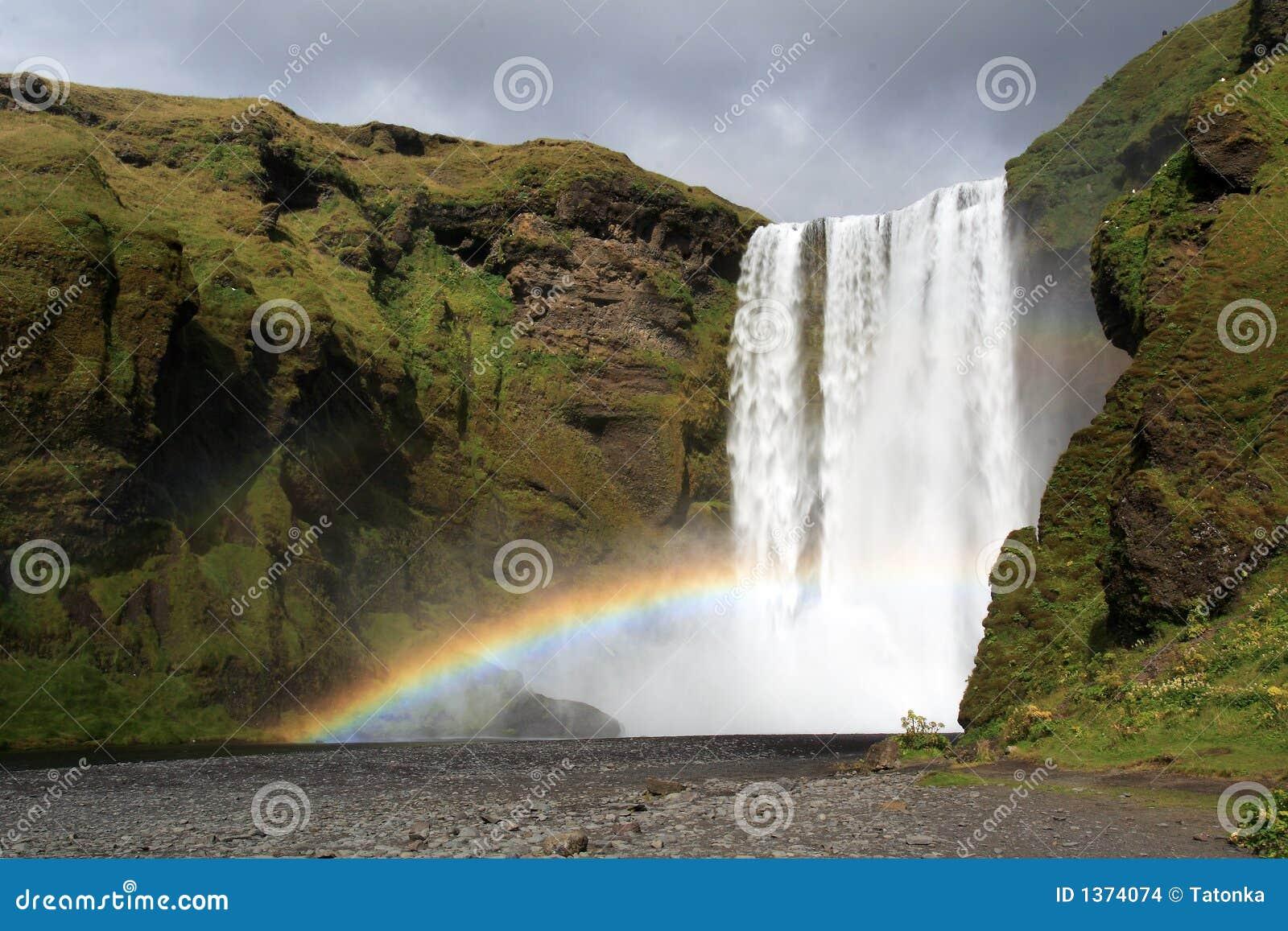 彩虹skogafoss瀑布