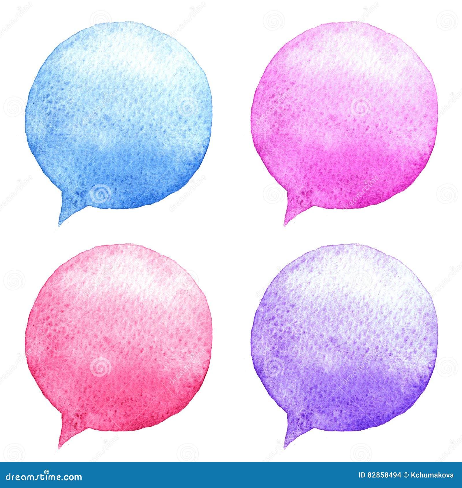水彩被设置的讲话泡影 拉长的表面现有量例证s妇女 社会媒介象