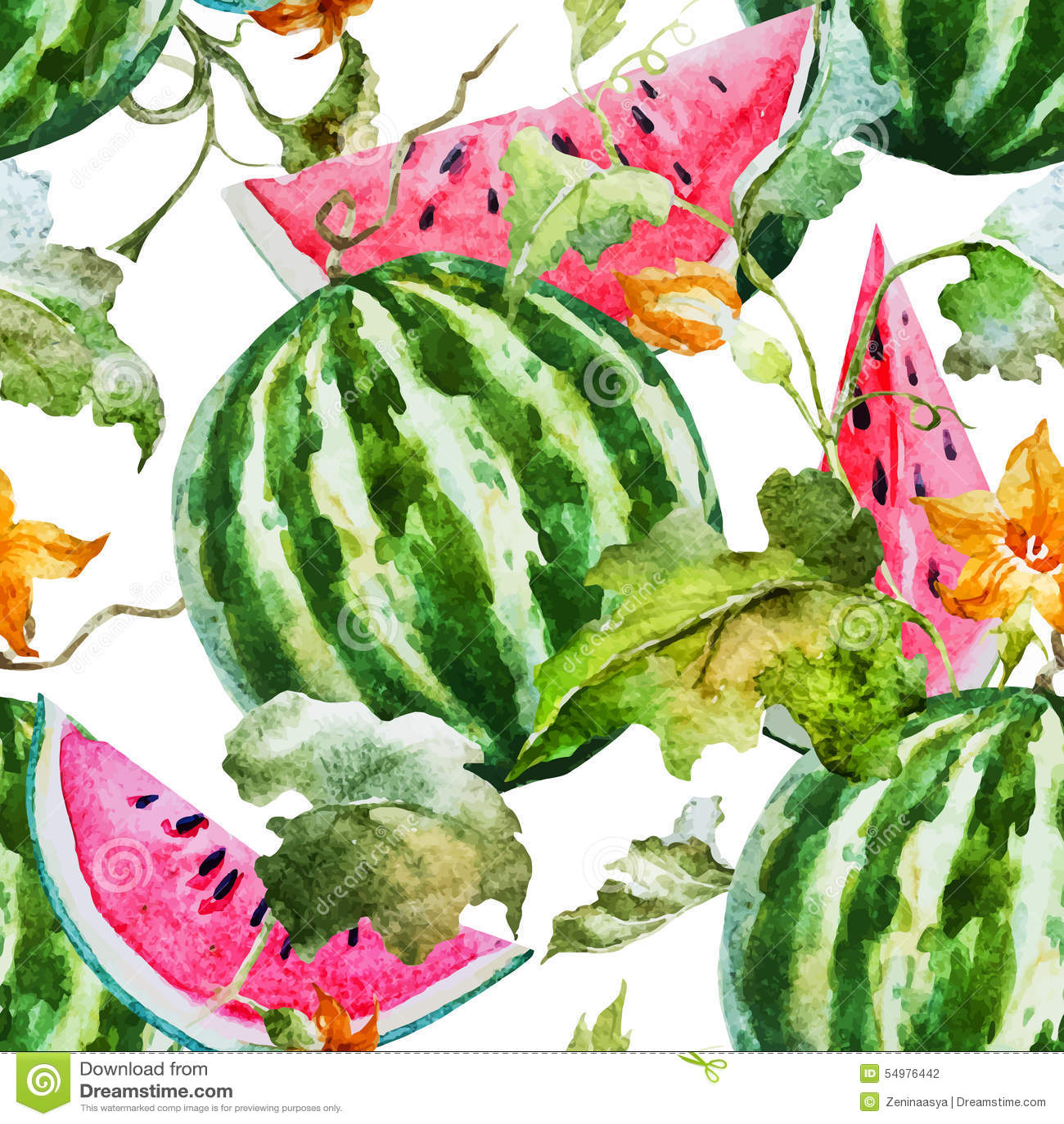水彩西瓜瓜样式
