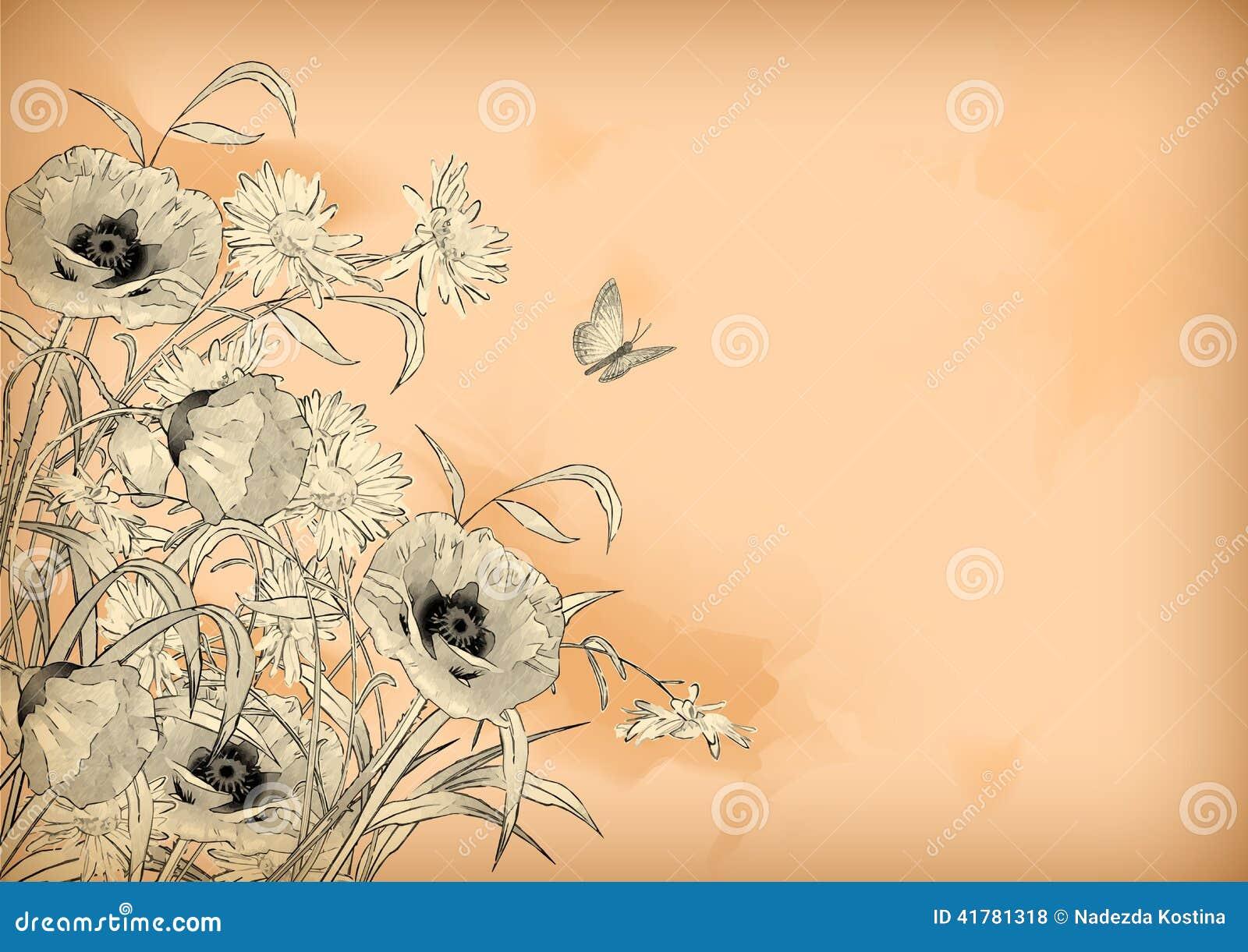 水彩铅笔图开花蝴蝶