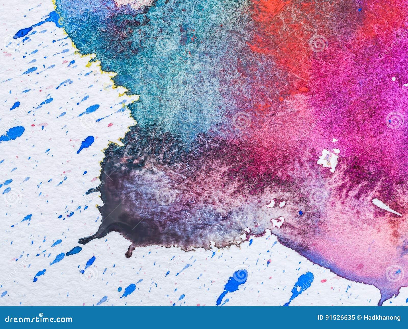 水彩颜色和纹理在纸的