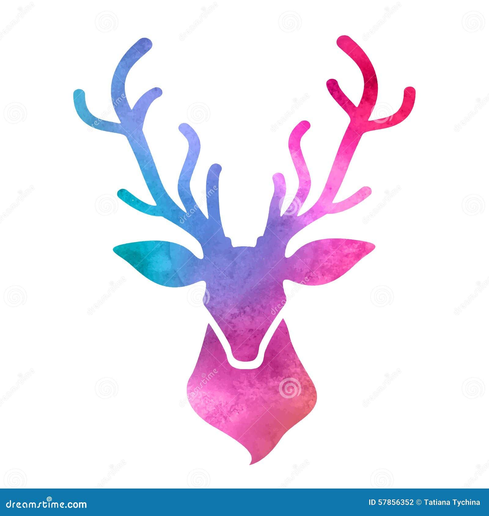 水彩鹿头图片