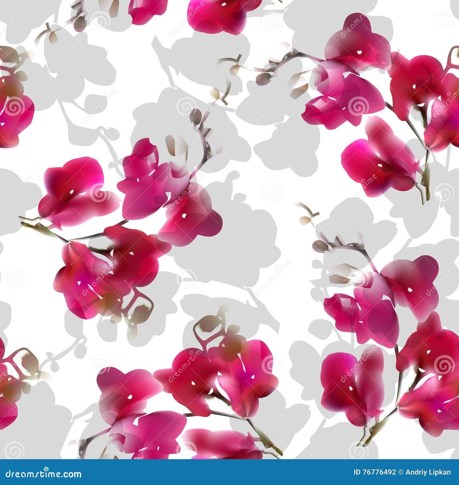 水彩仿制热带兰花花无缝的样式 也corel凹道例证向量
