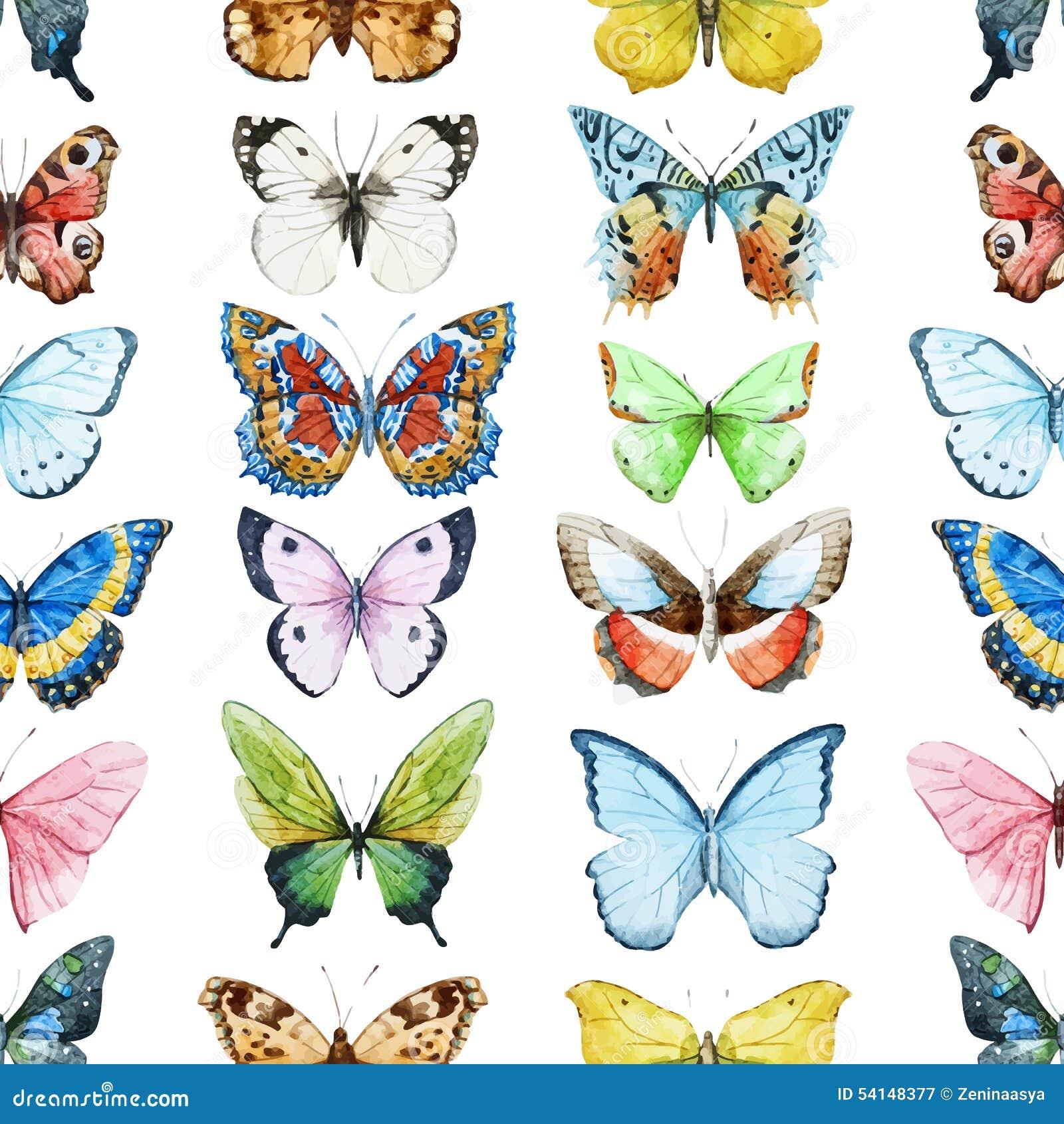 水彩蝴蝶图案