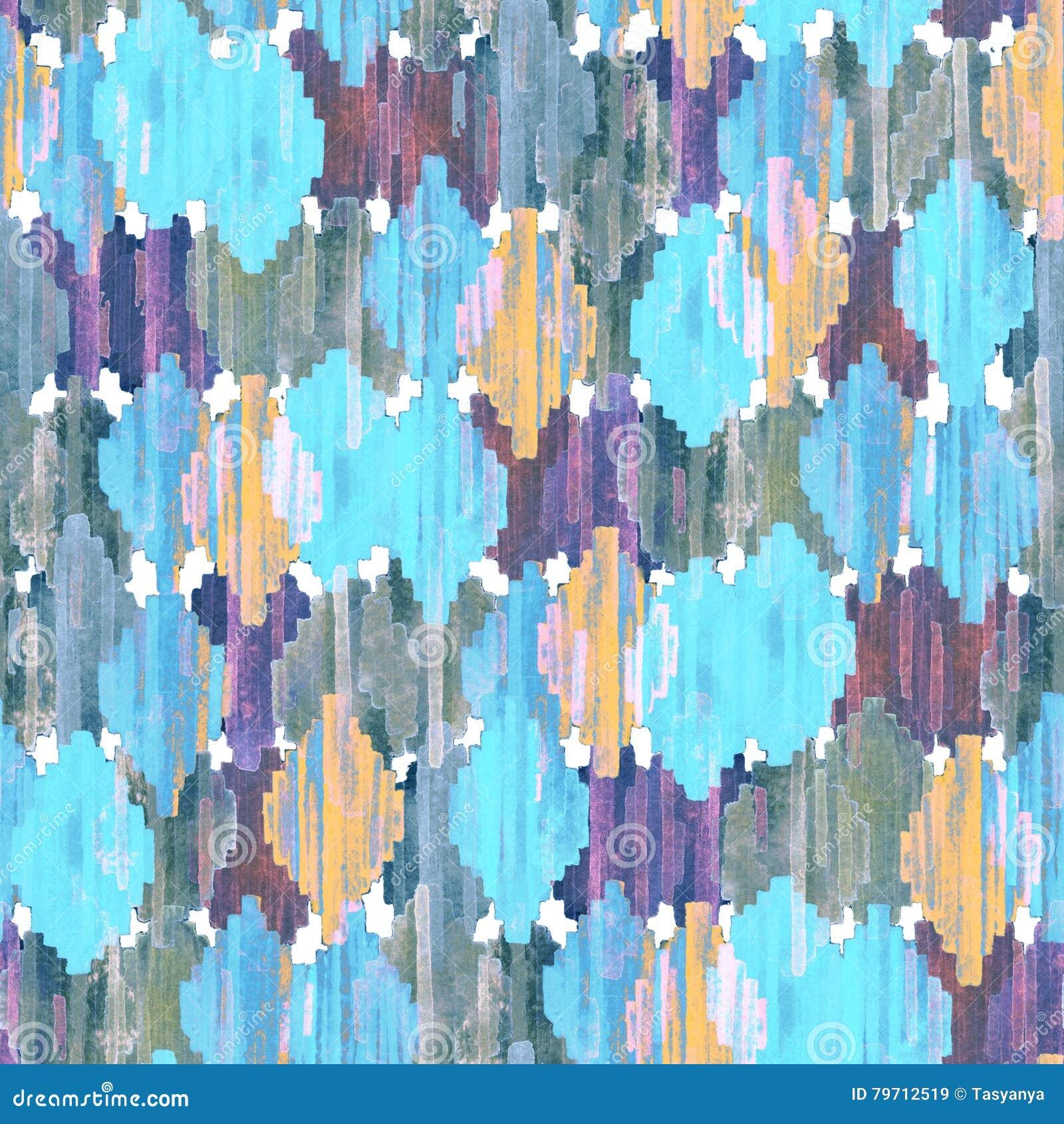 水彩ikat无缝的样式 充满活力的种族菱形样式
