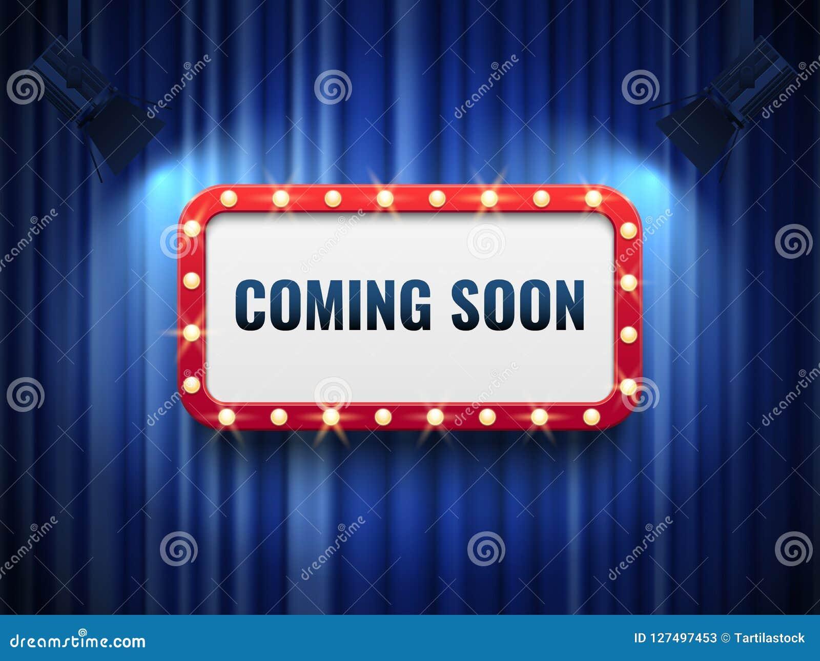 很快来的背景 与蓝色帷幕的特别公告概念,聚光灯和轻的大门罩签字 向量
