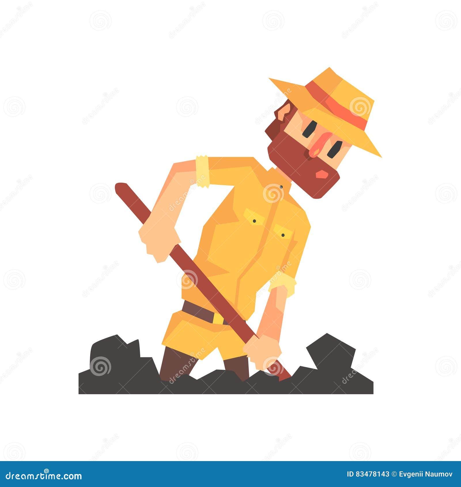 徒步旅行队成套装备和帽子的冒险家考古学家开掘从滑稽的考古学科学家系列的地面例证
