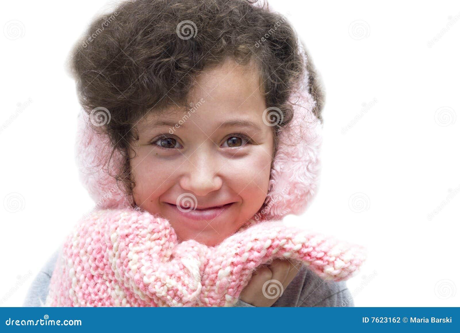 御寒耳罩女孩粉红色围巾