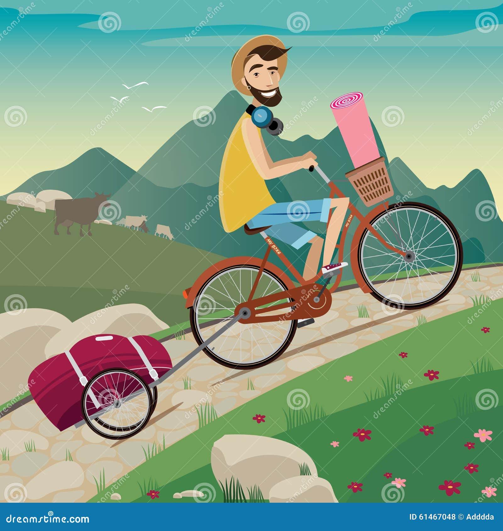 循环的游览的背包徒步旅行者在山