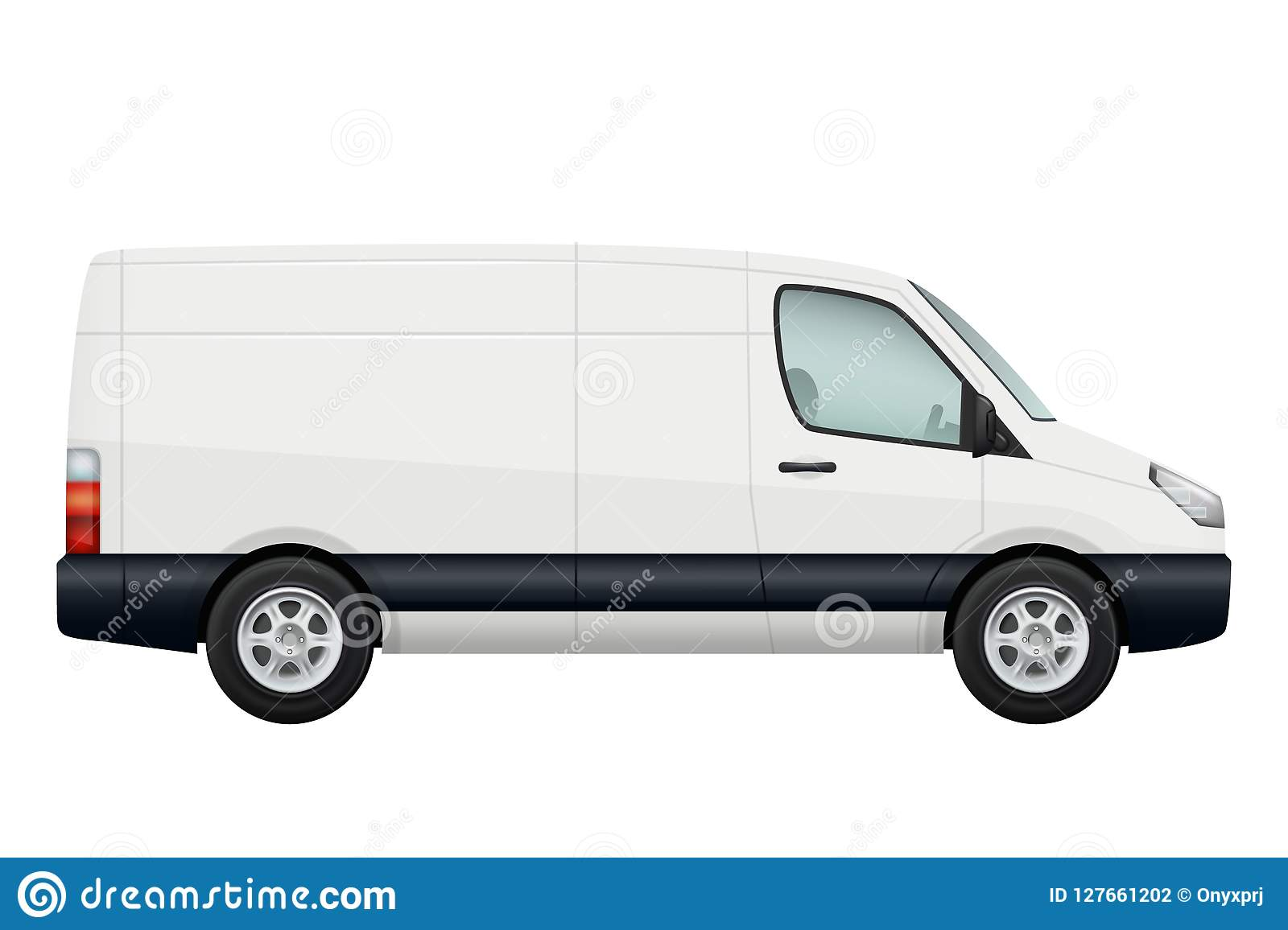 微型van car 传染媒介白色微型货车侧视图在白色隔绝的