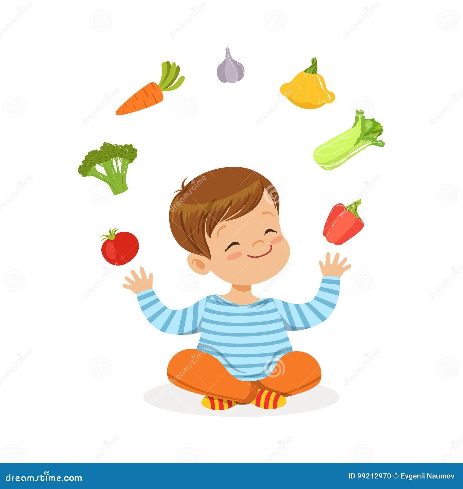 微笑的小男孩坐地板玩杂耍与菜的,孩子健康食物概念五颜六色的传染媒介例证
