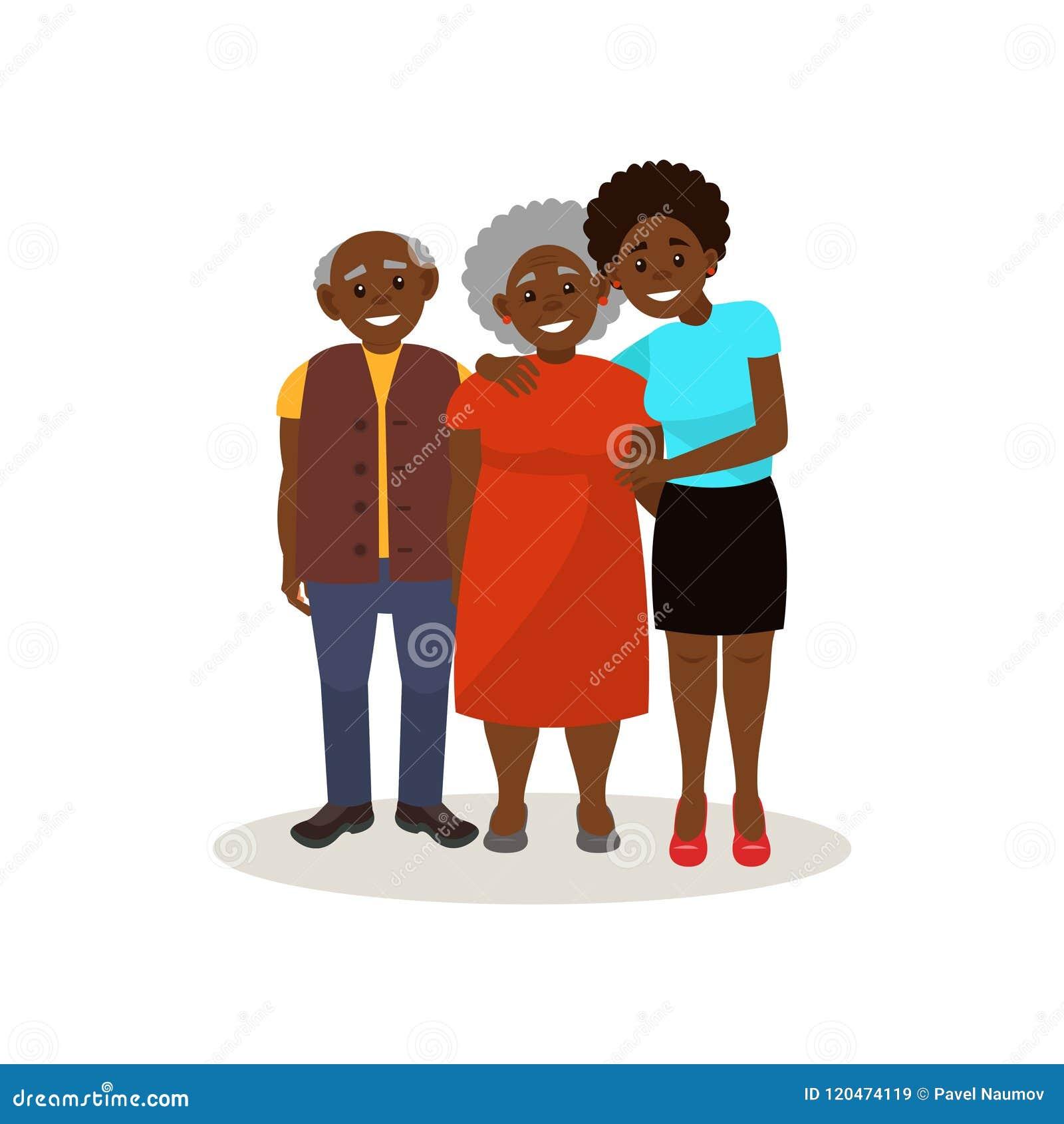 微笑的美国黑人的黑年长的夫妇和一起摆在他们的成人的女儿,愉快的家庭观念传染媒介