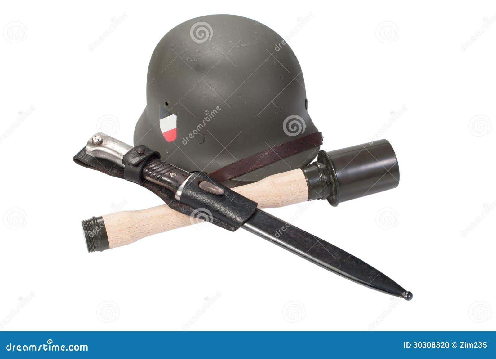 德国军队盔甲,手榴弹每刺刀被隔绝的第二次世界大战期间