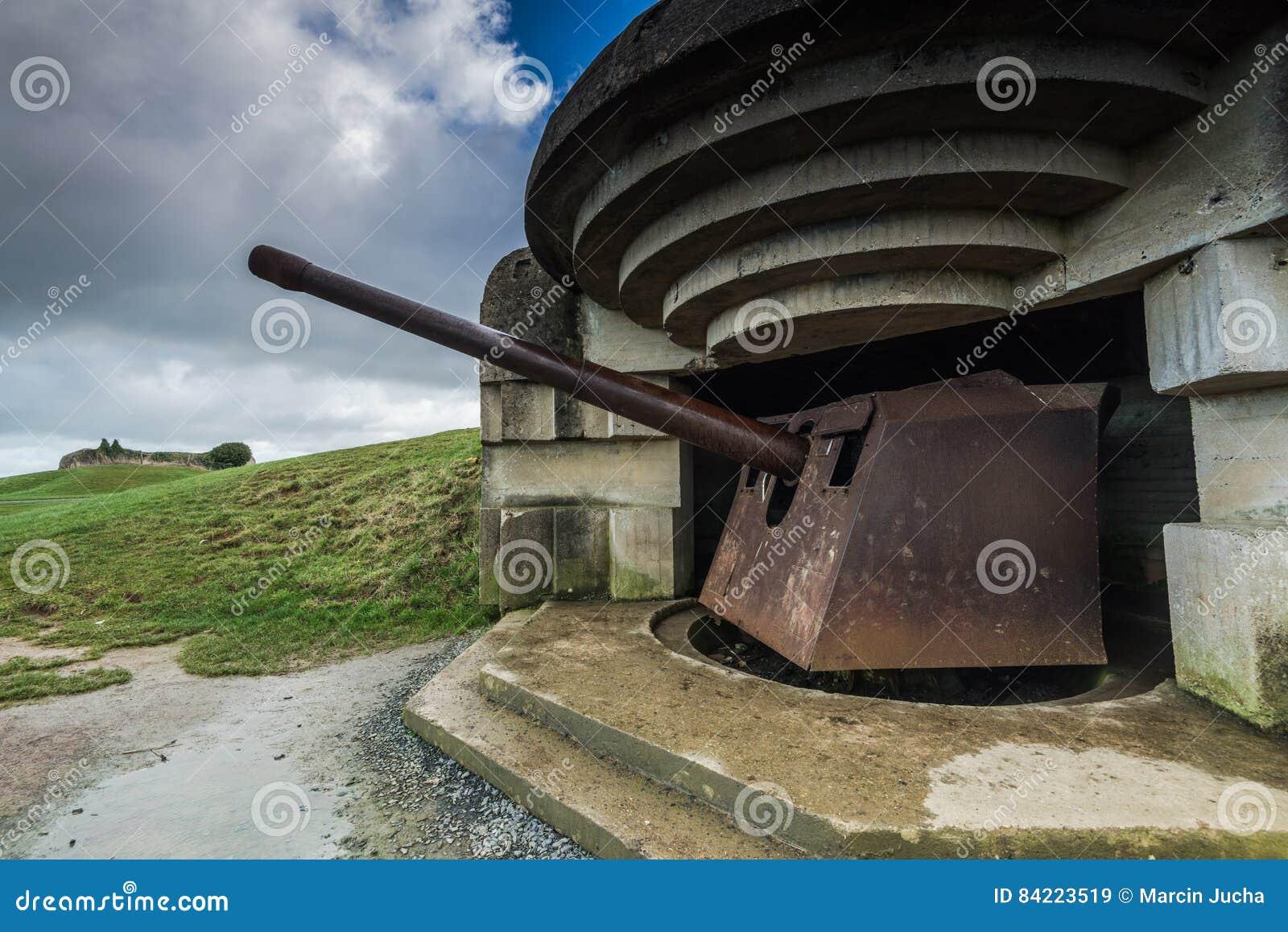 德国地堡和火炮在诺曼底,法国