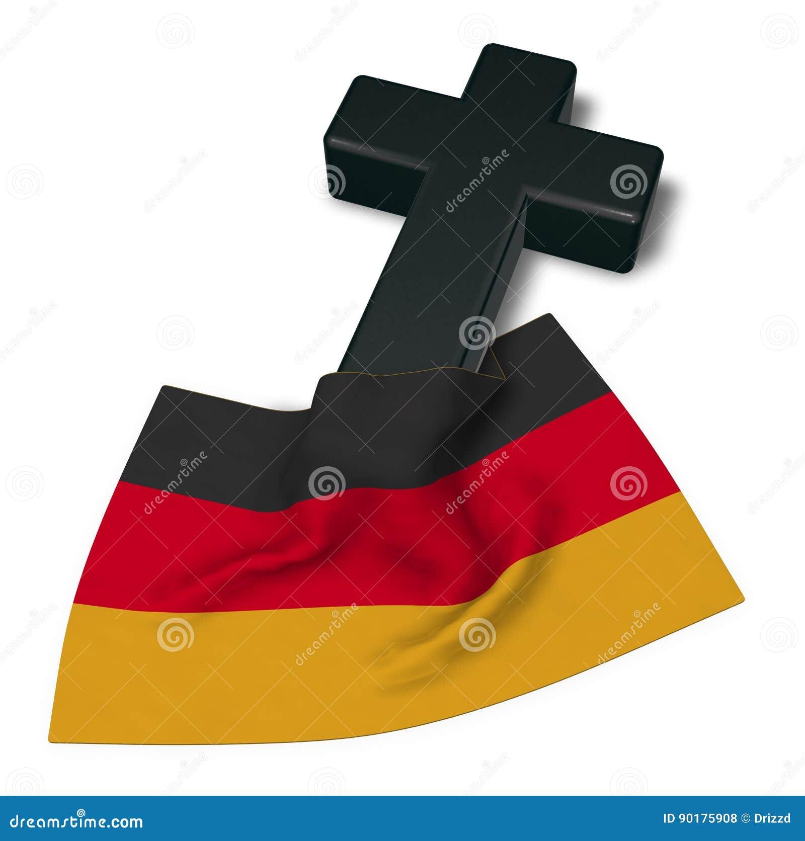 德国的基督徒十字架和旗子