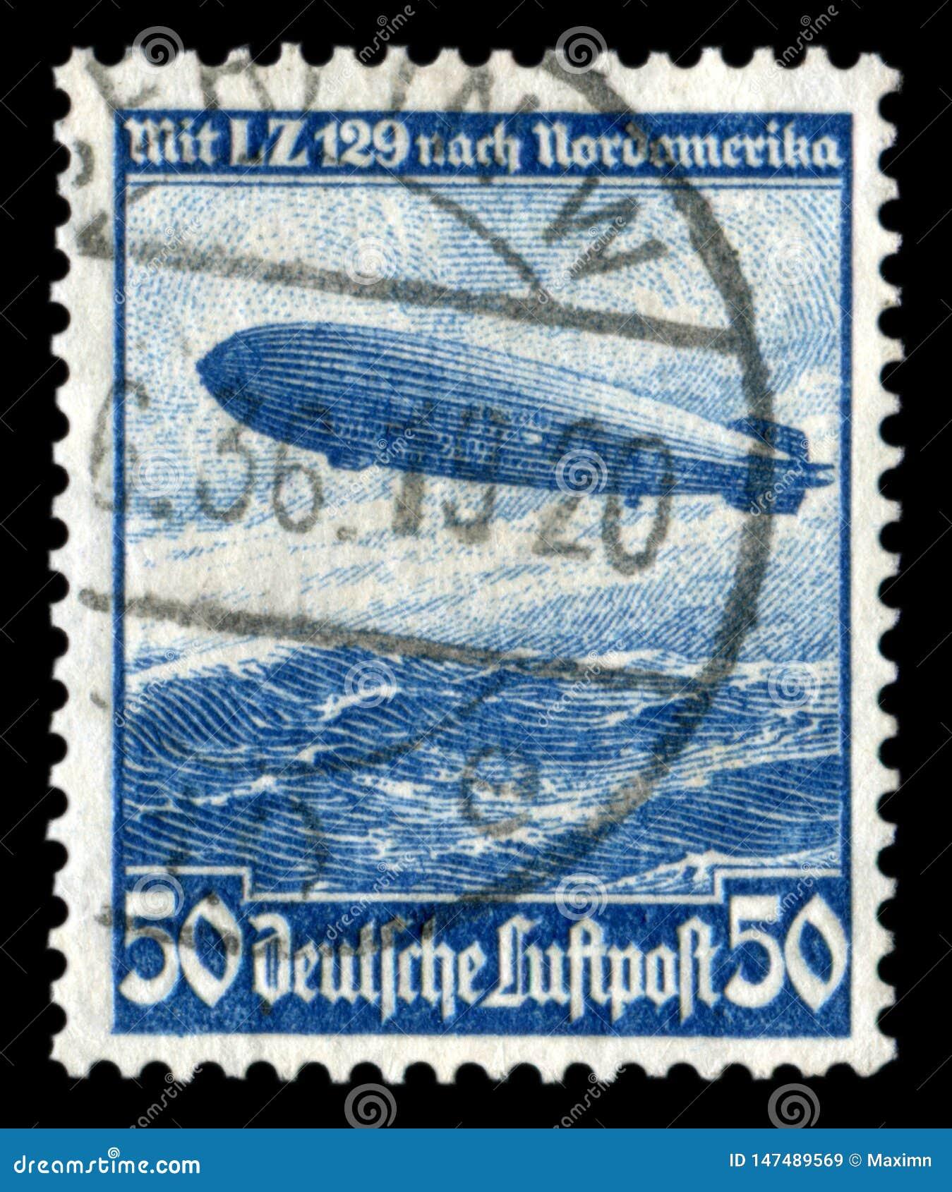 德国-大约1936年:德国历史邮票:mesatlantica飞行L Z 129飞艇'兴登堡'在大西洋与