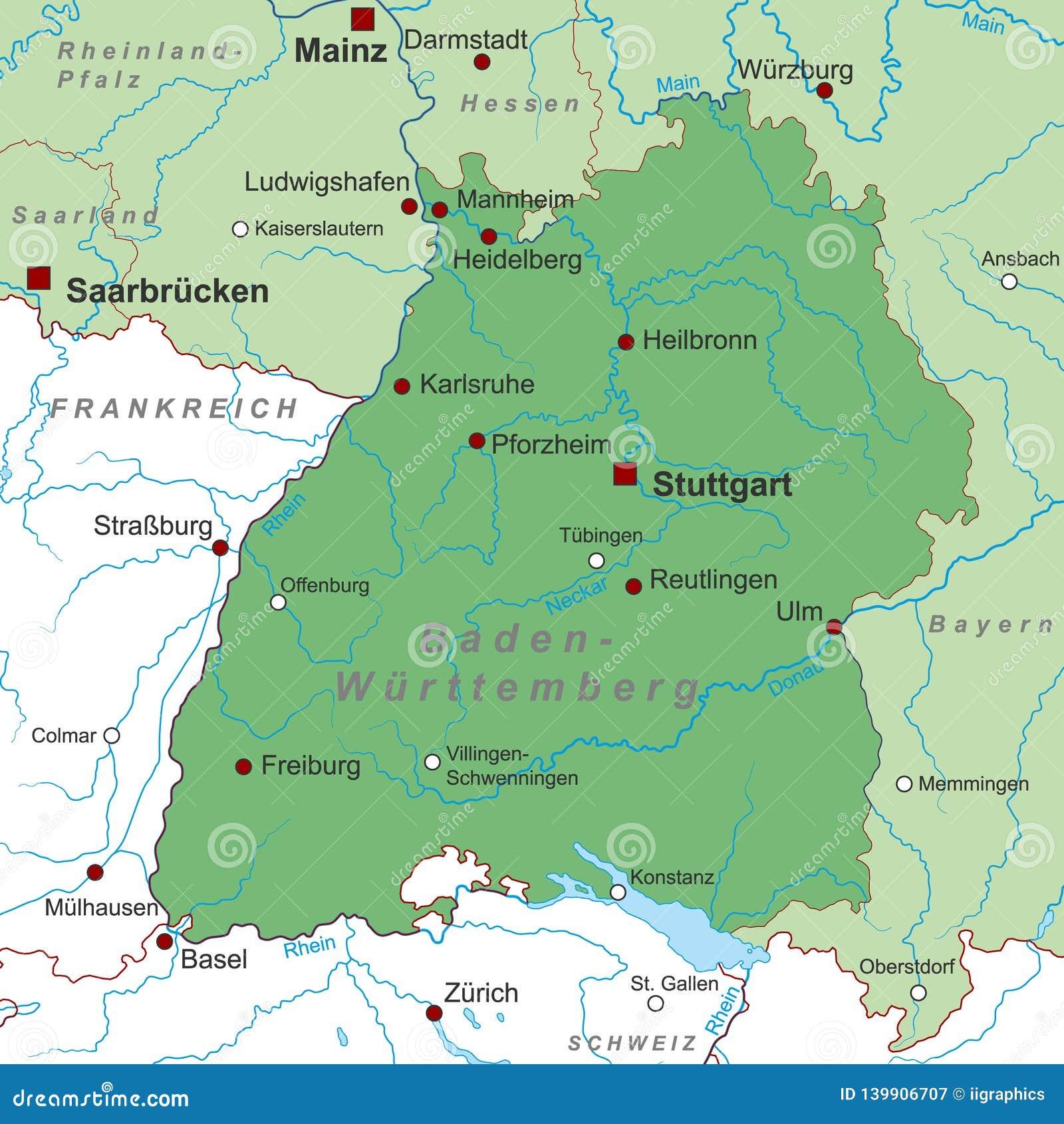 德国-德国的地图-'巴登市符腾堡'-高详细