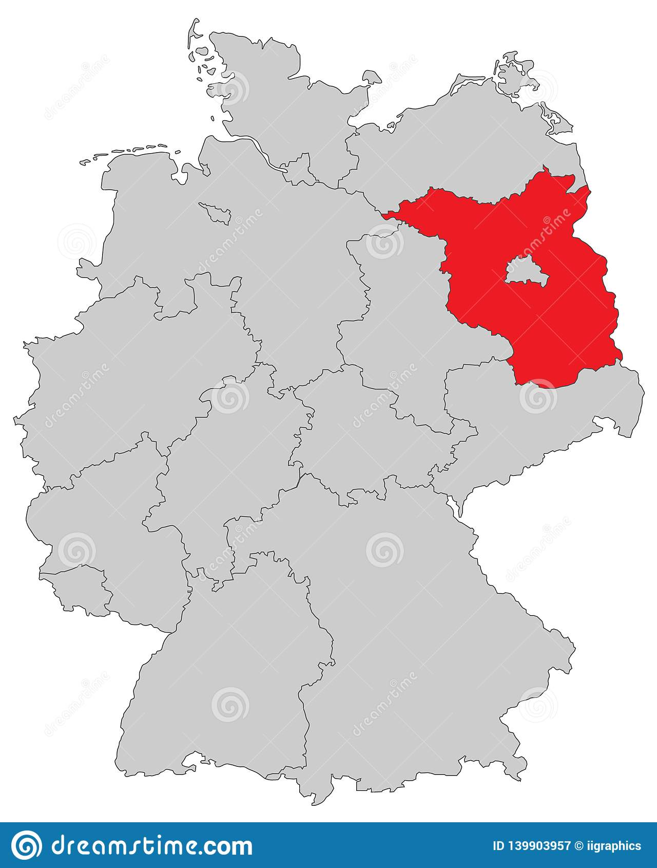 德国-德国的地图-'布兰登堡'-高详细