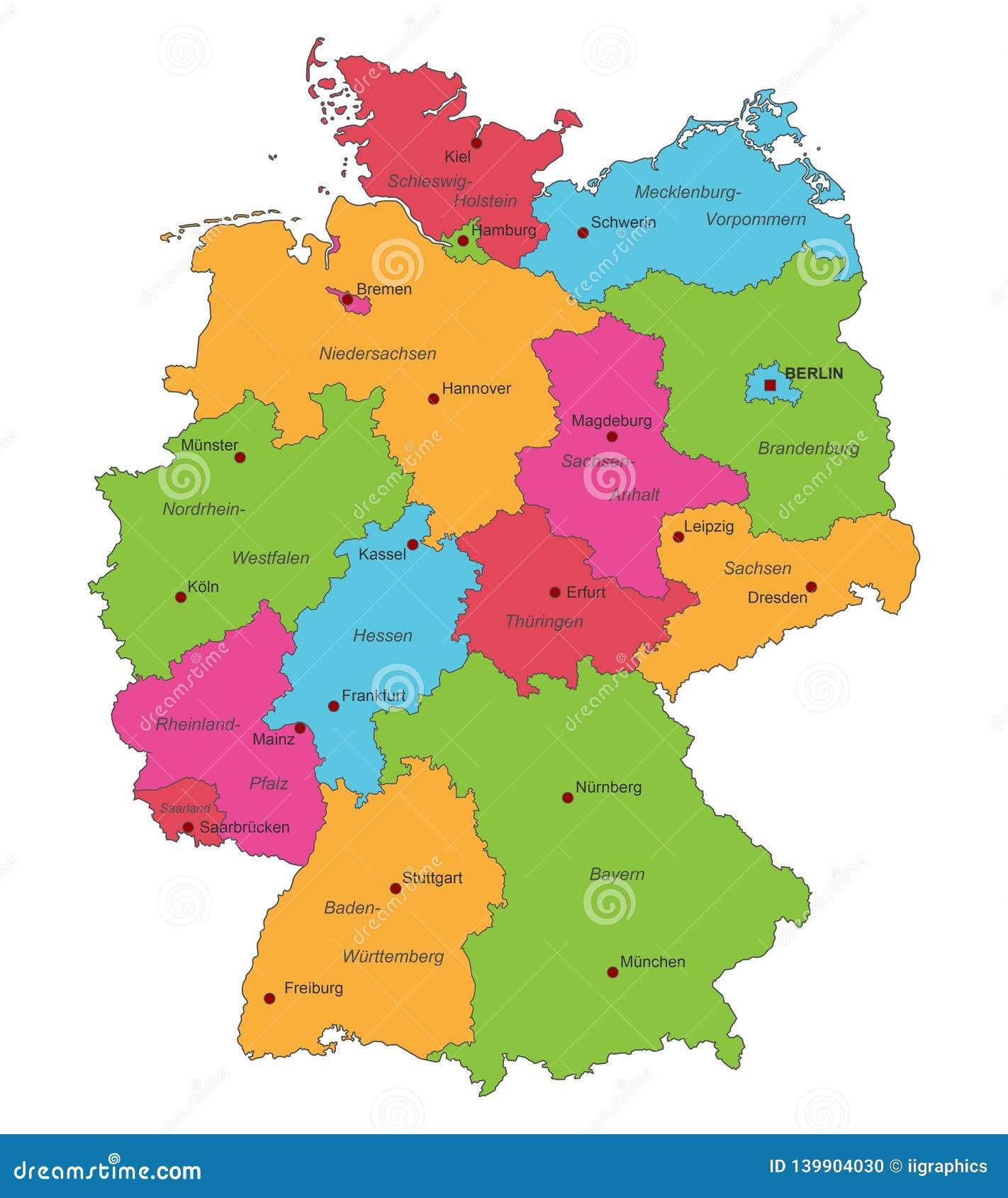 德国-德国的地图-高详细