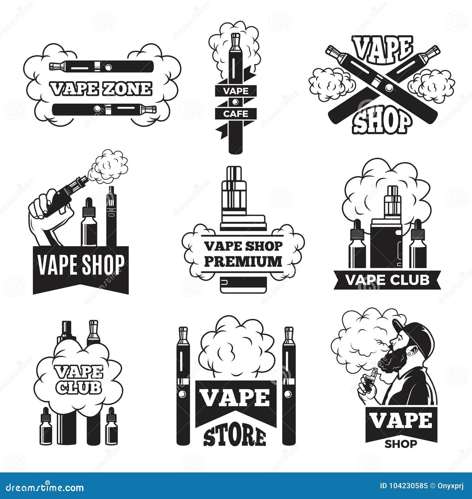徽章和标签与蒸气的例证从电香烟 vaping的俱乐部或商店的图片
