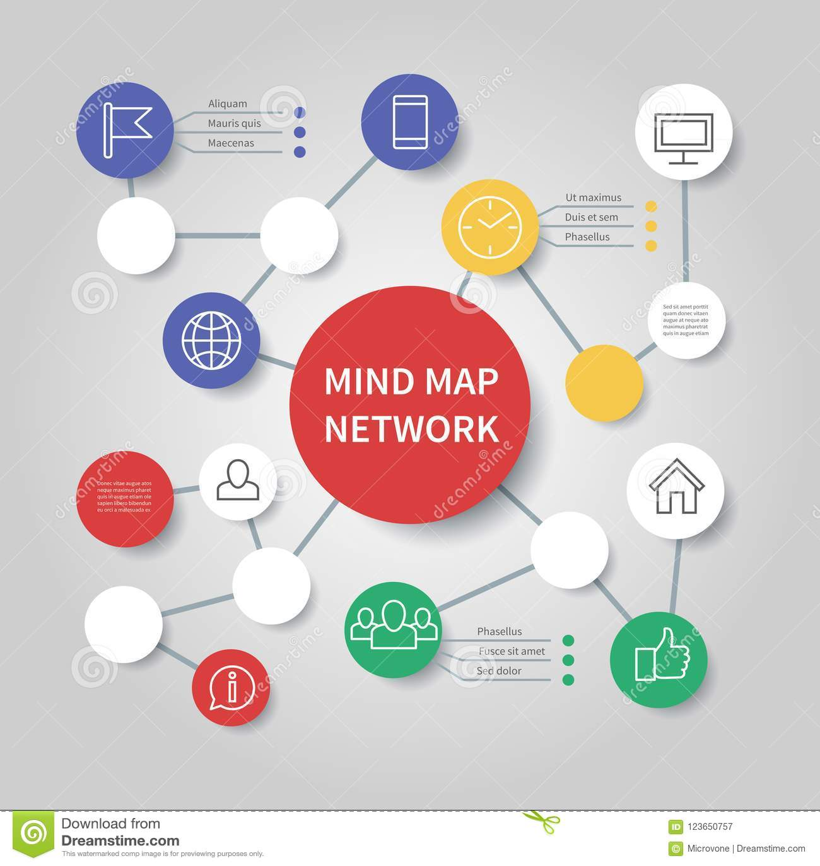 心智图网络图 留心流程图infographic传染媒介模板