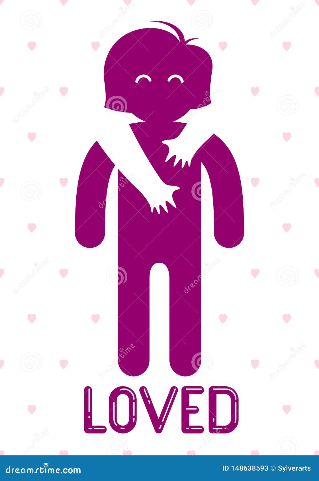 心爱的妇女拥抱小心递一个恋人的人并且爱抚她的肩膀、传染媒介象商标或者例证在单纯化