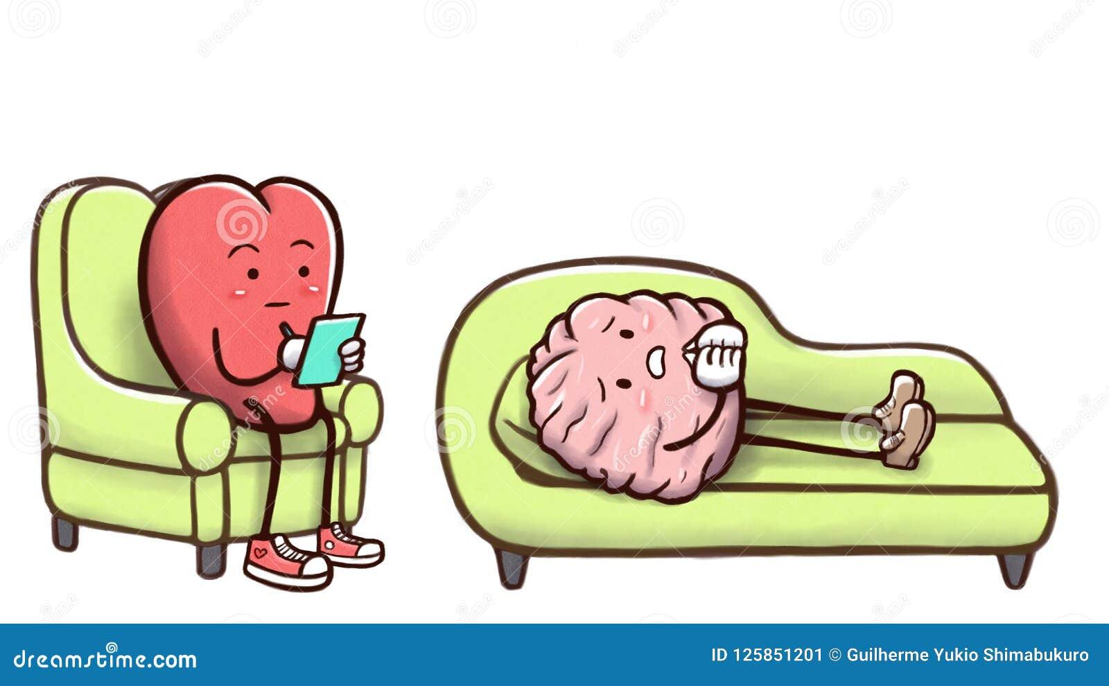 心理学家心脏在与耐心脑子的一次疗期上在白色背景中-隔绝的长沙发