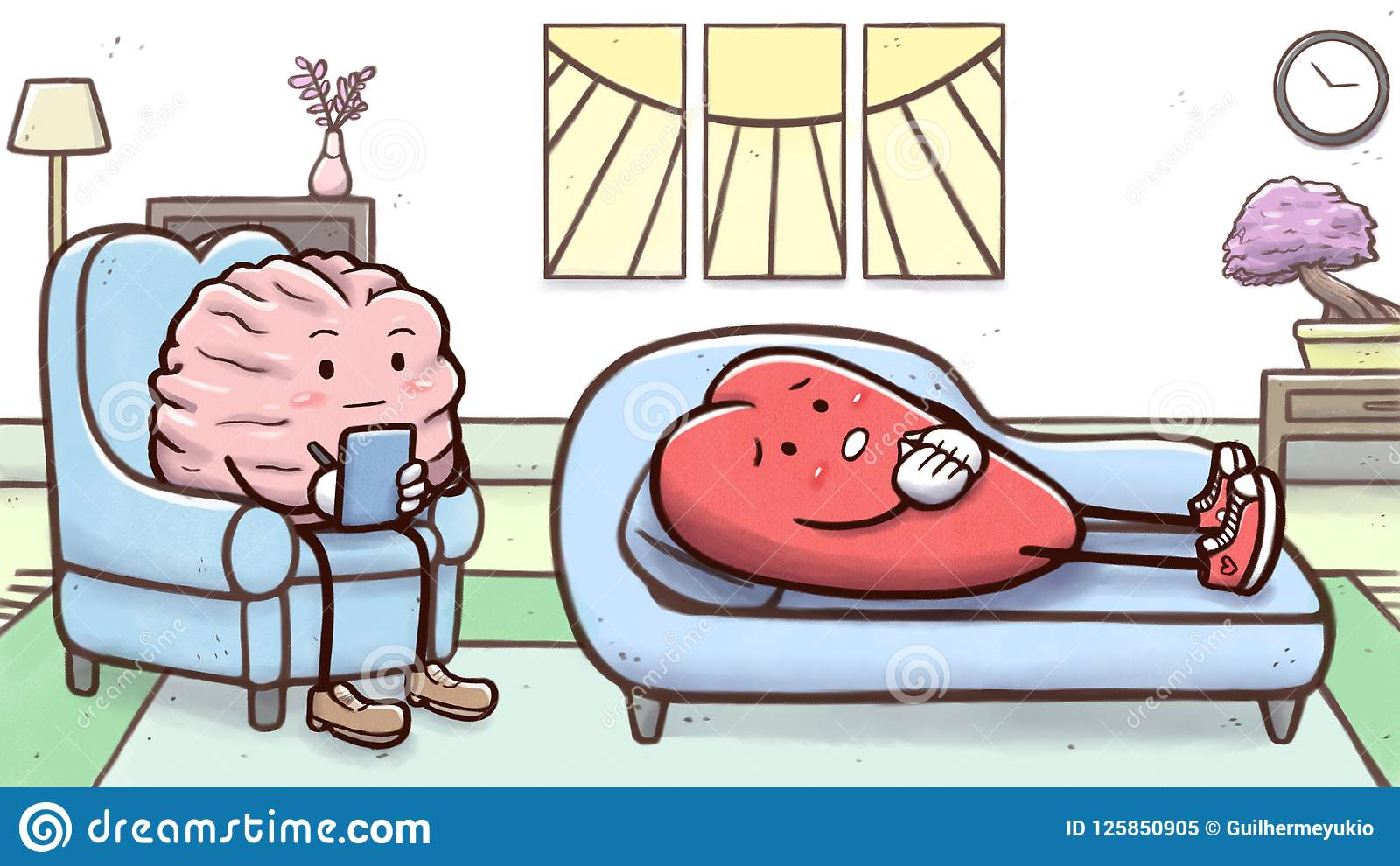 心理学家脑子在与耐心心脏的一次疗期上在长沙发
