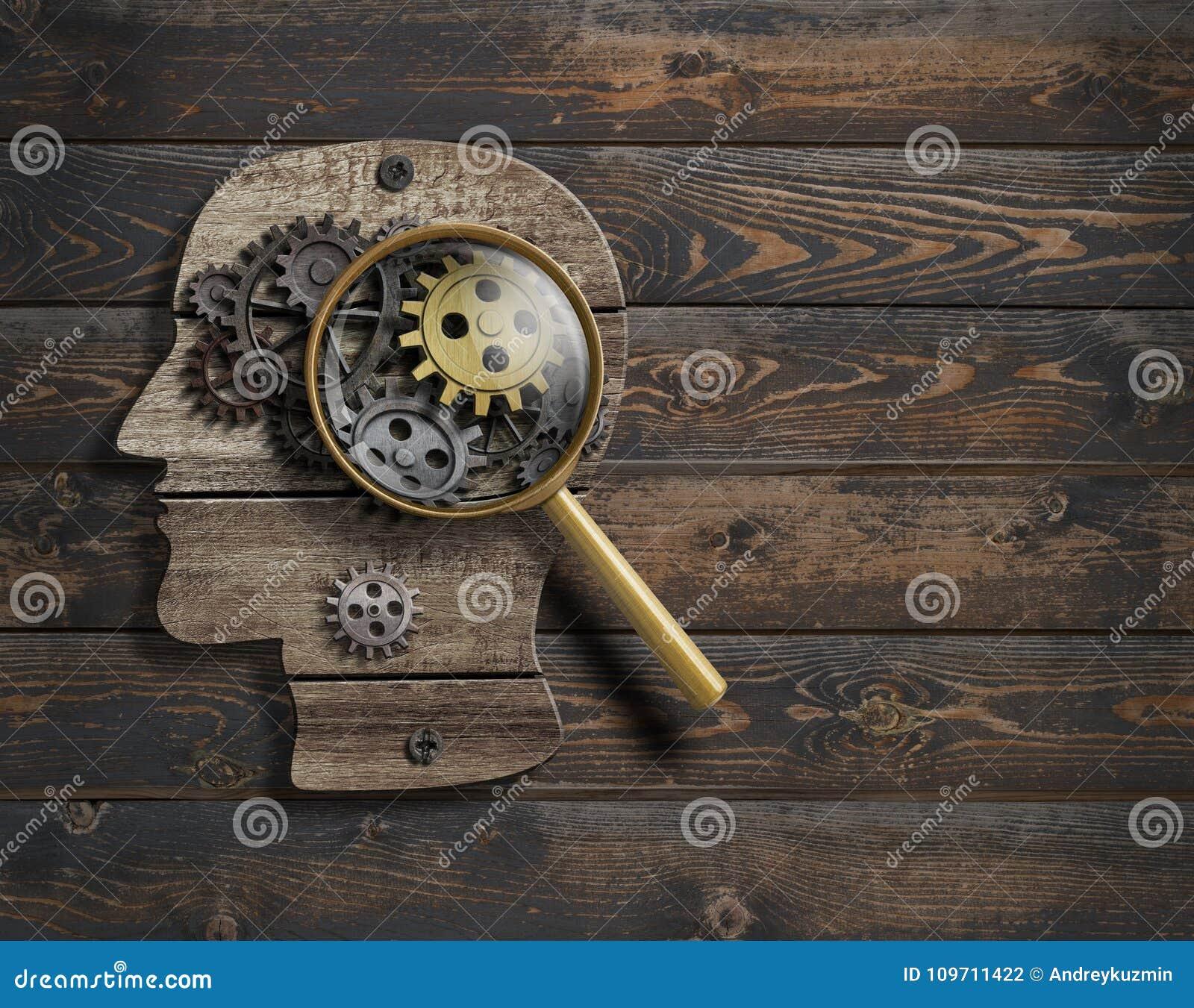 心理学或发明构想 脑子作用模型3d例证