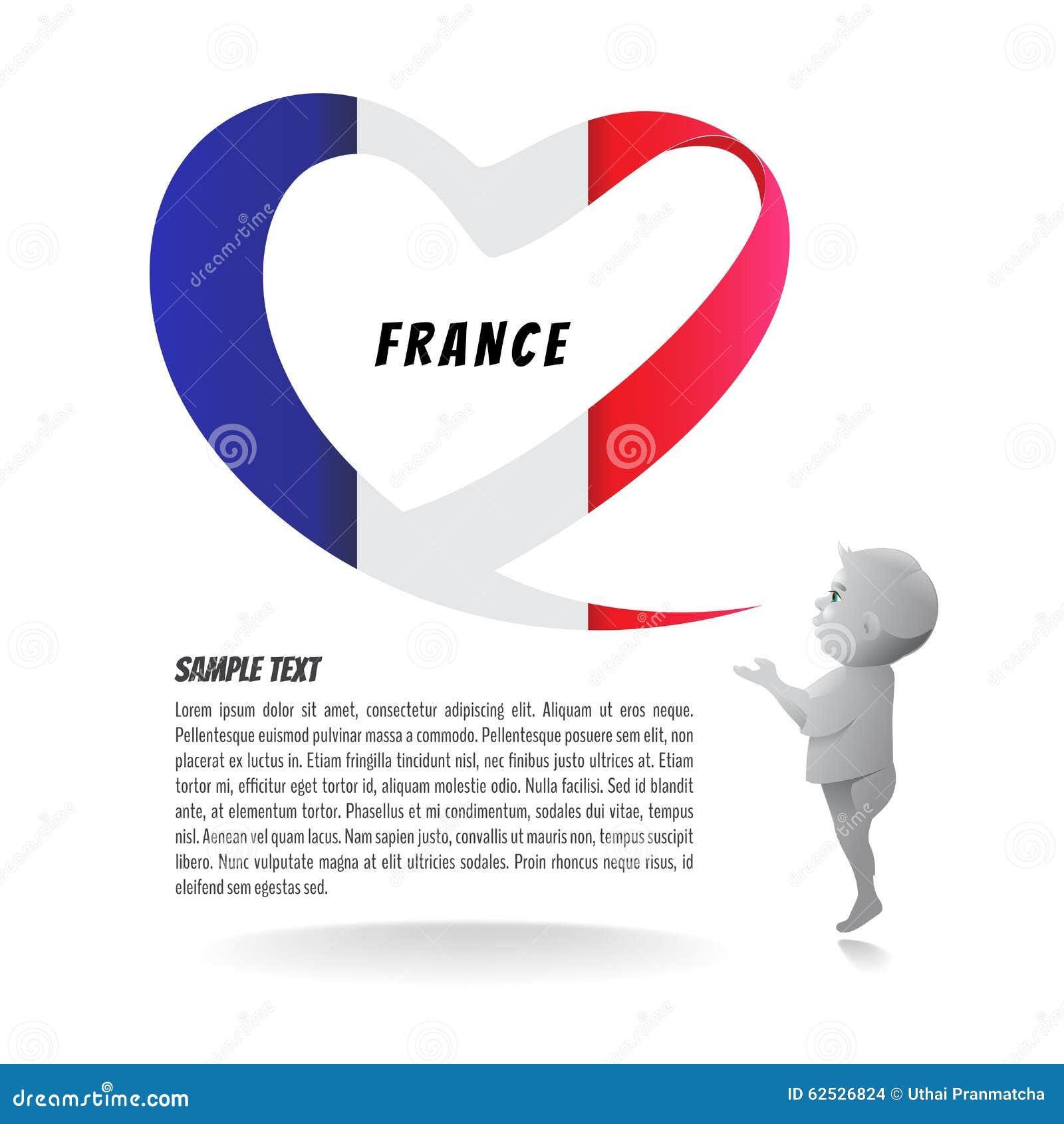 以心脏和孩子的形式祷告的法国旗子