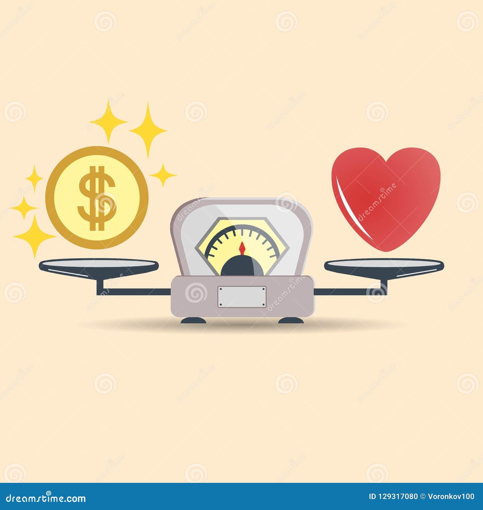 心脏和金钱标度象的 金钱和爱平衡在标度 概念选择 与爱和金钱硬币的标度 向量